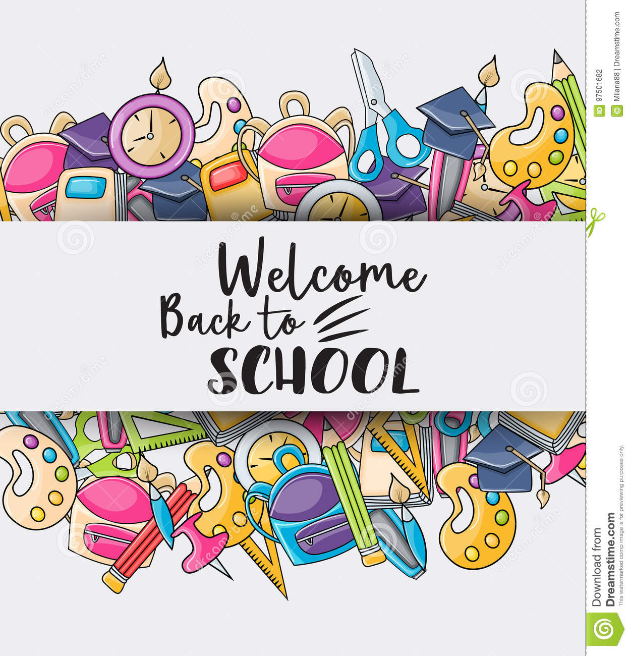 welcome back to school doodle clip art stock vector illustration