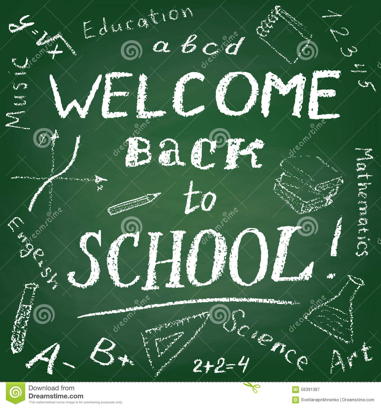 Welcome Back To School Stock Vector - Image: 56391387