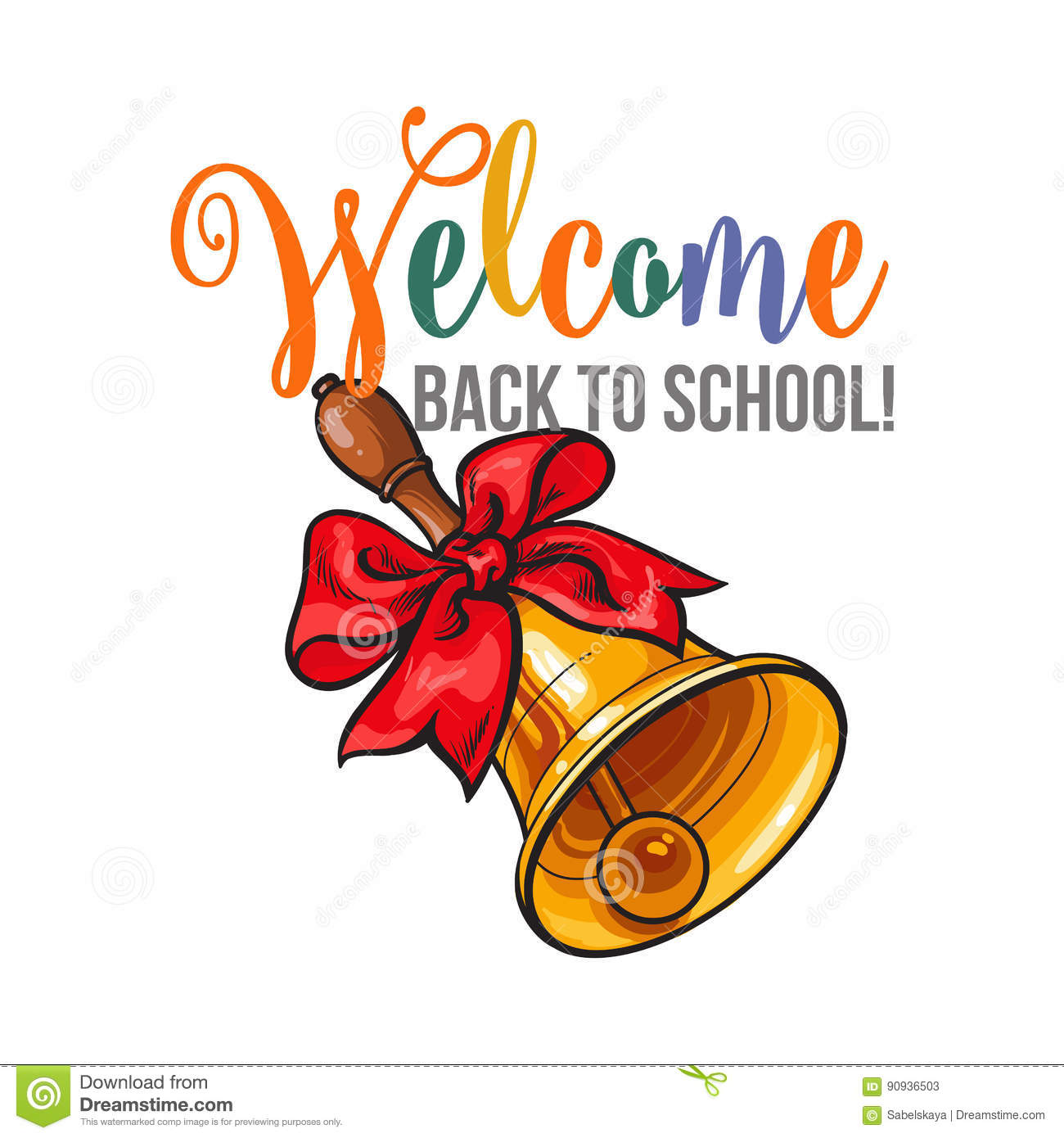Poster design for school - Welcome Back To School Poster Design With Bell And Ribbon