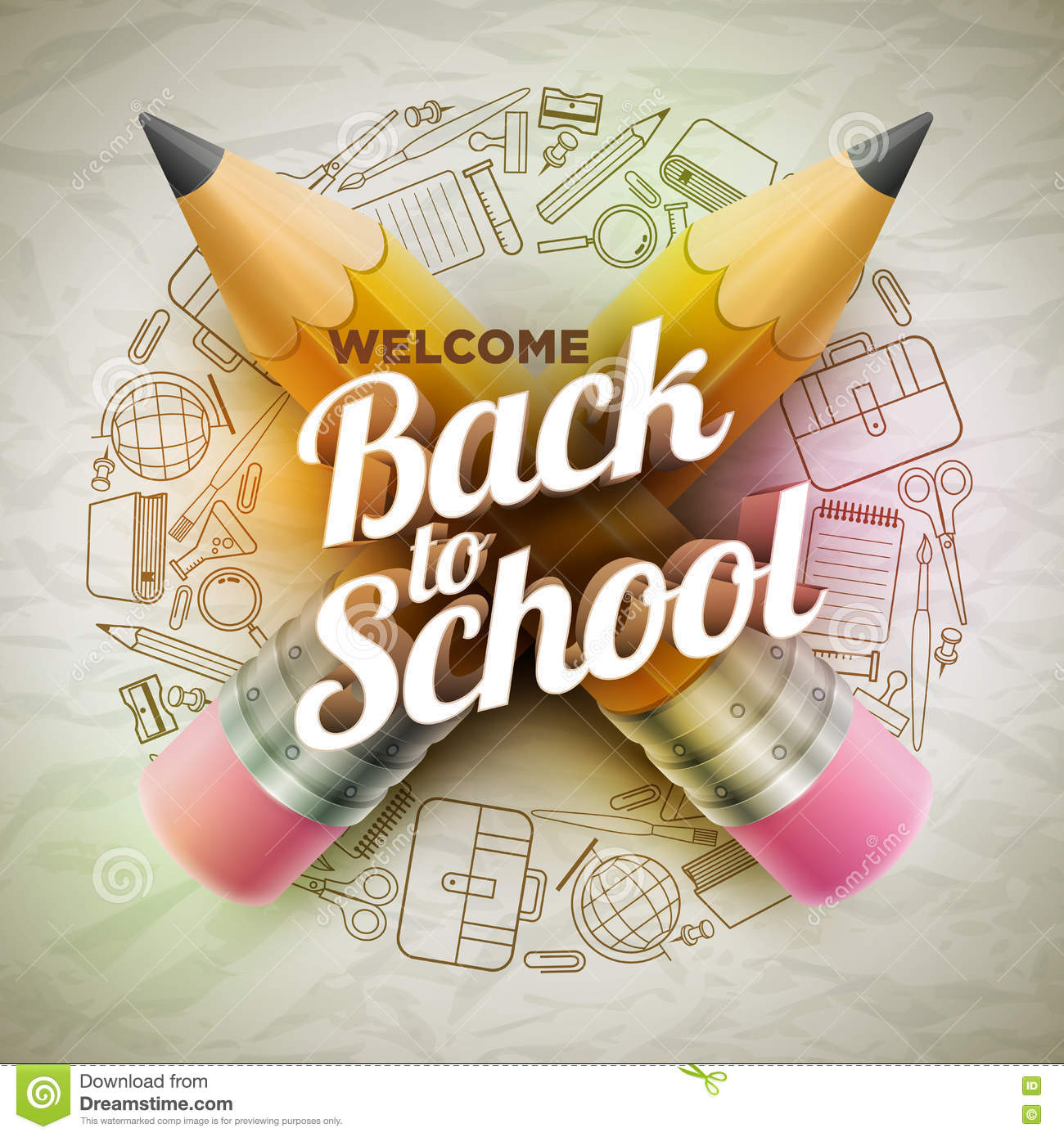 Welcome Back To School Poster Stock Vector - Illustration of ...