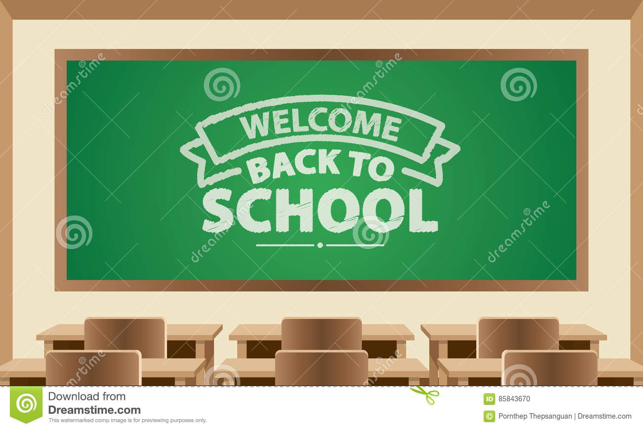 Welcome back to school text symbol on chalkboard with classroom welcome back to school text symbol on chalkboard with classroom buycottarizona Gallery