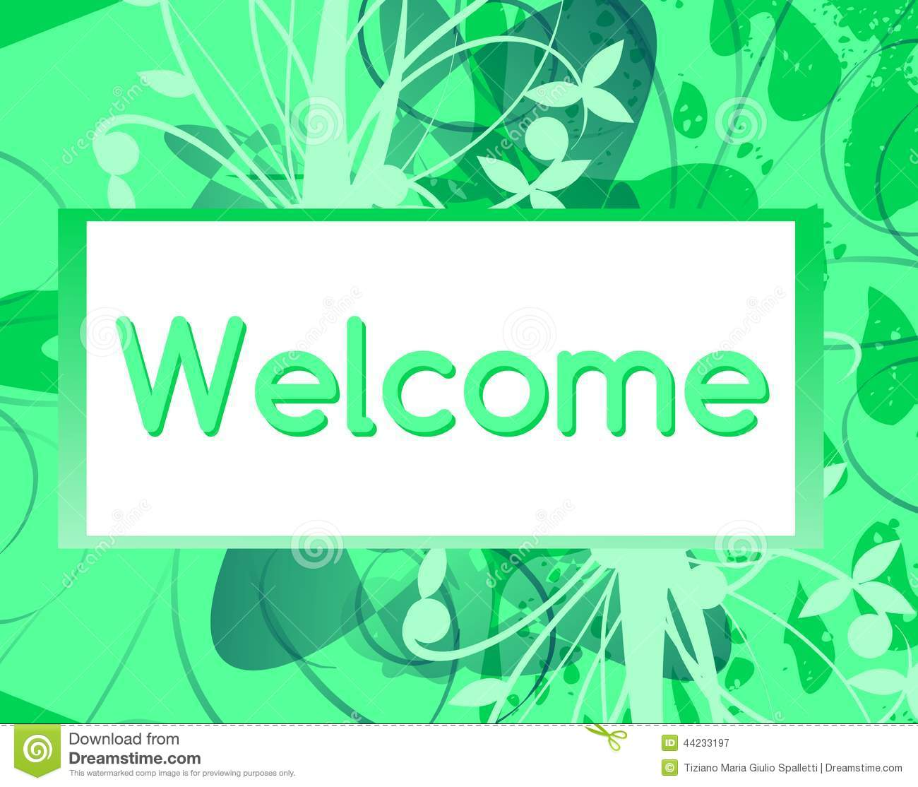 welcome banner with floral fantasy stock illustration