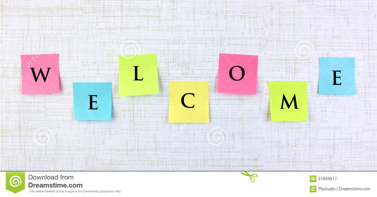 Welcome banner with colorful sticky notes. This greeting card template ...