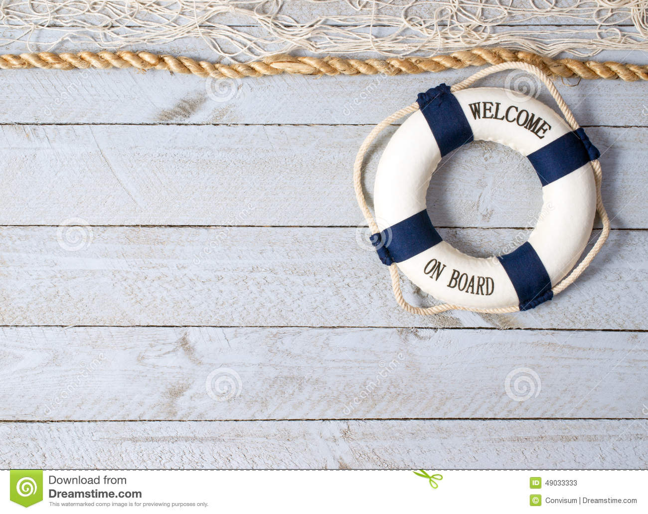 Life Preserver With Welcome On Board In Text White Fishing Net