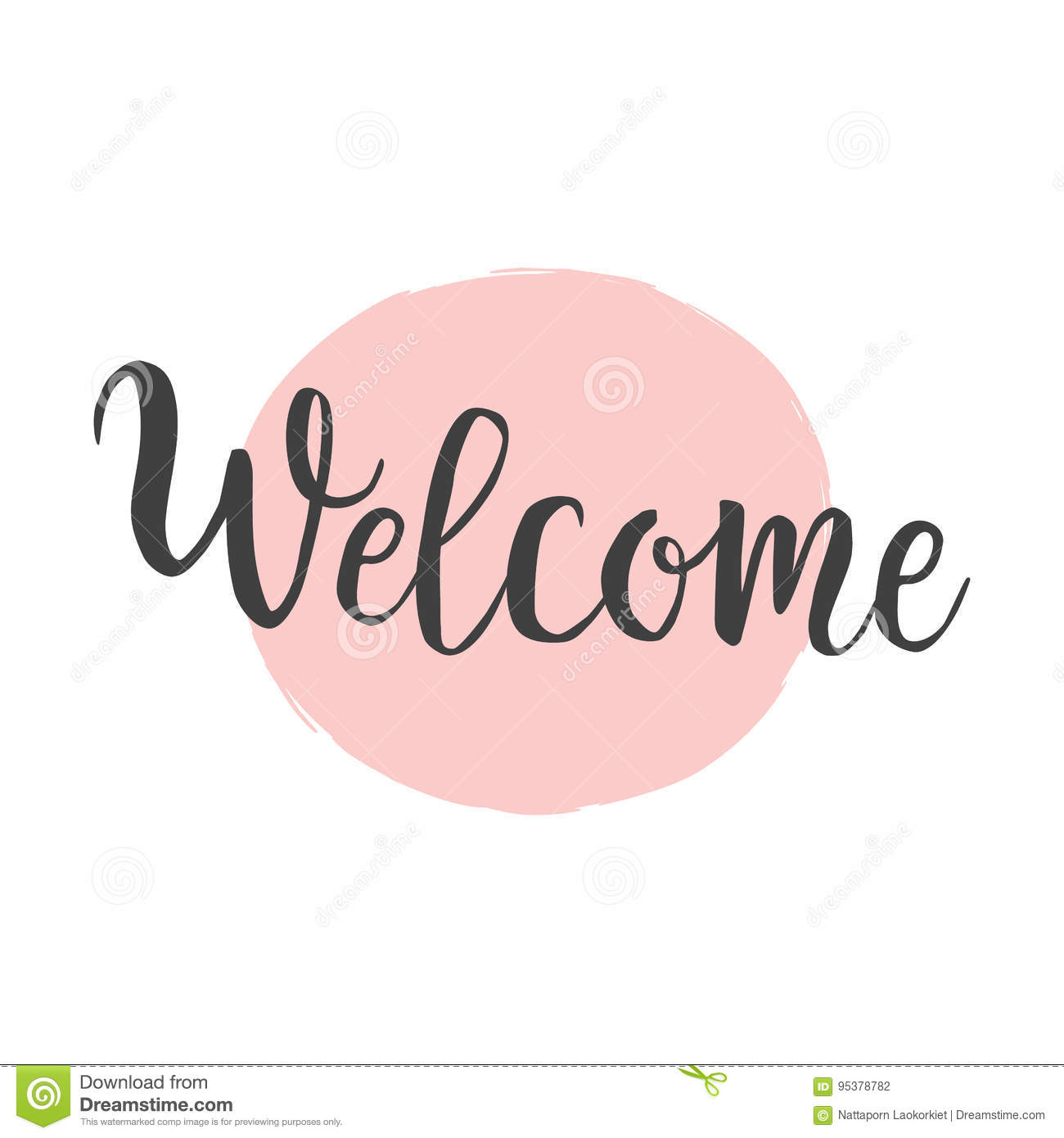 Welcome calligraphy brush lettering on pink hand drawn