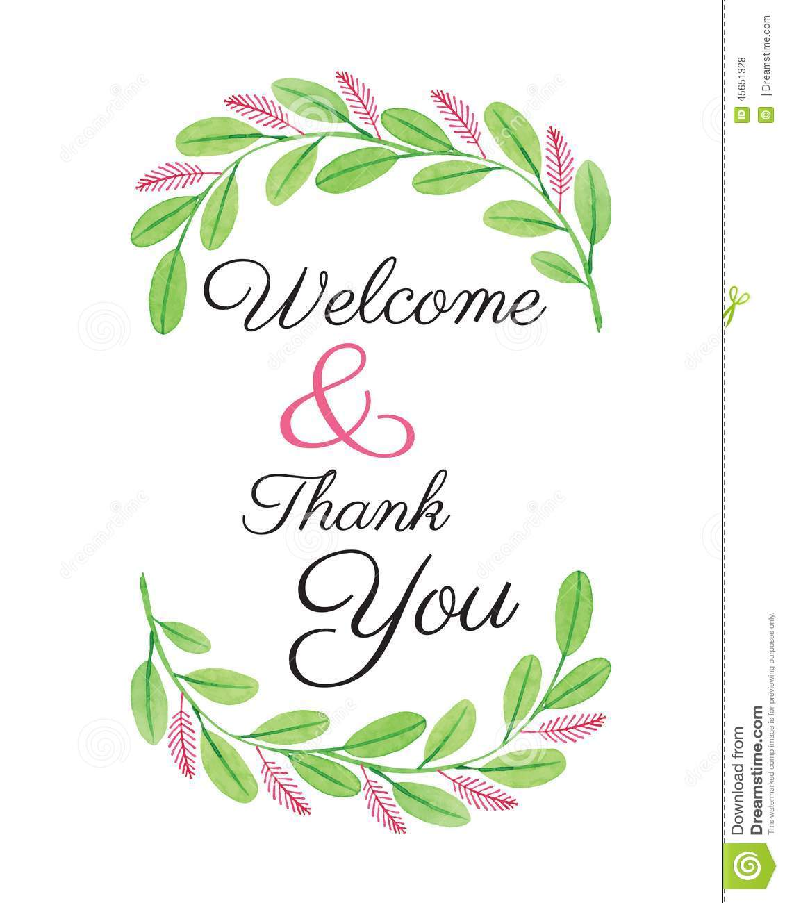 Welcome Card - Flower Design Watercolor Vector Stock ...