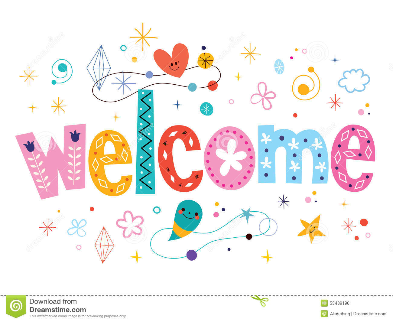 Welcome Decorative Type Lettering Text Design Stock Vector