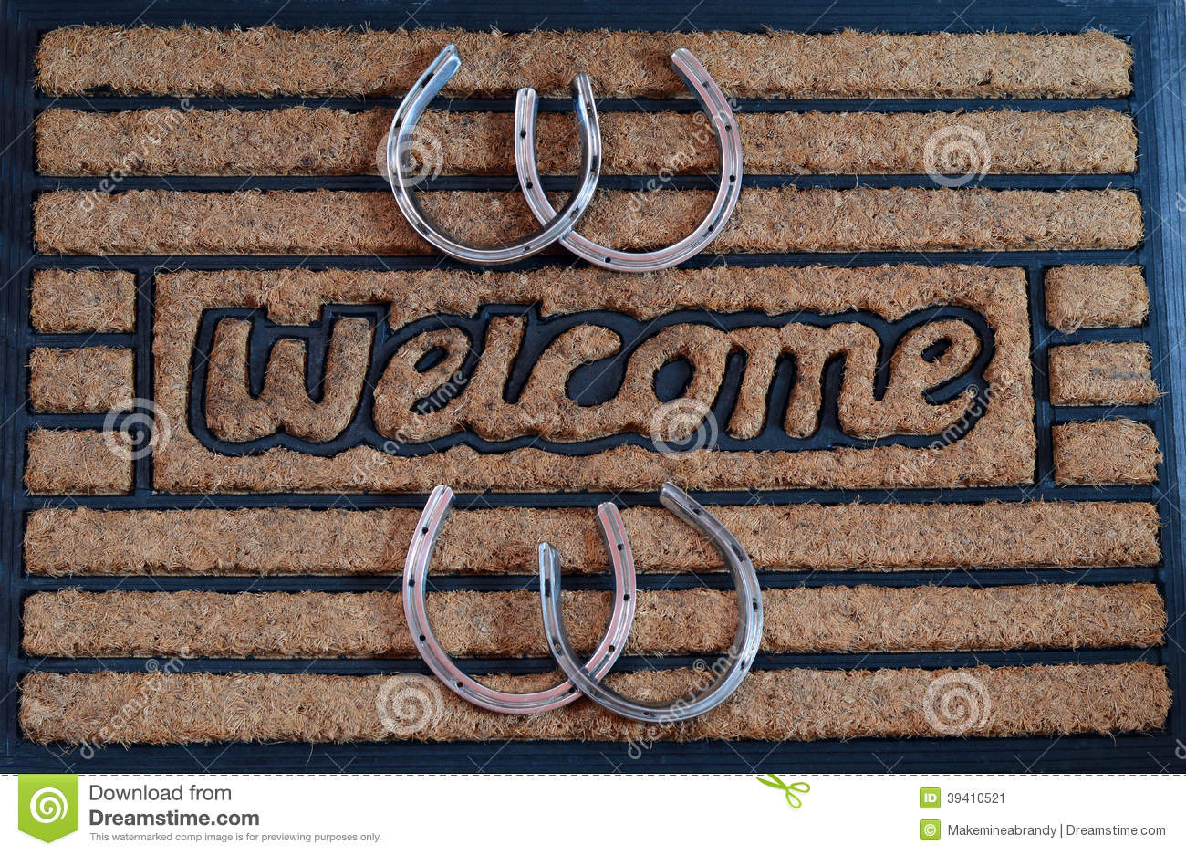 Genial Welcome Door Mat With Horseshoes