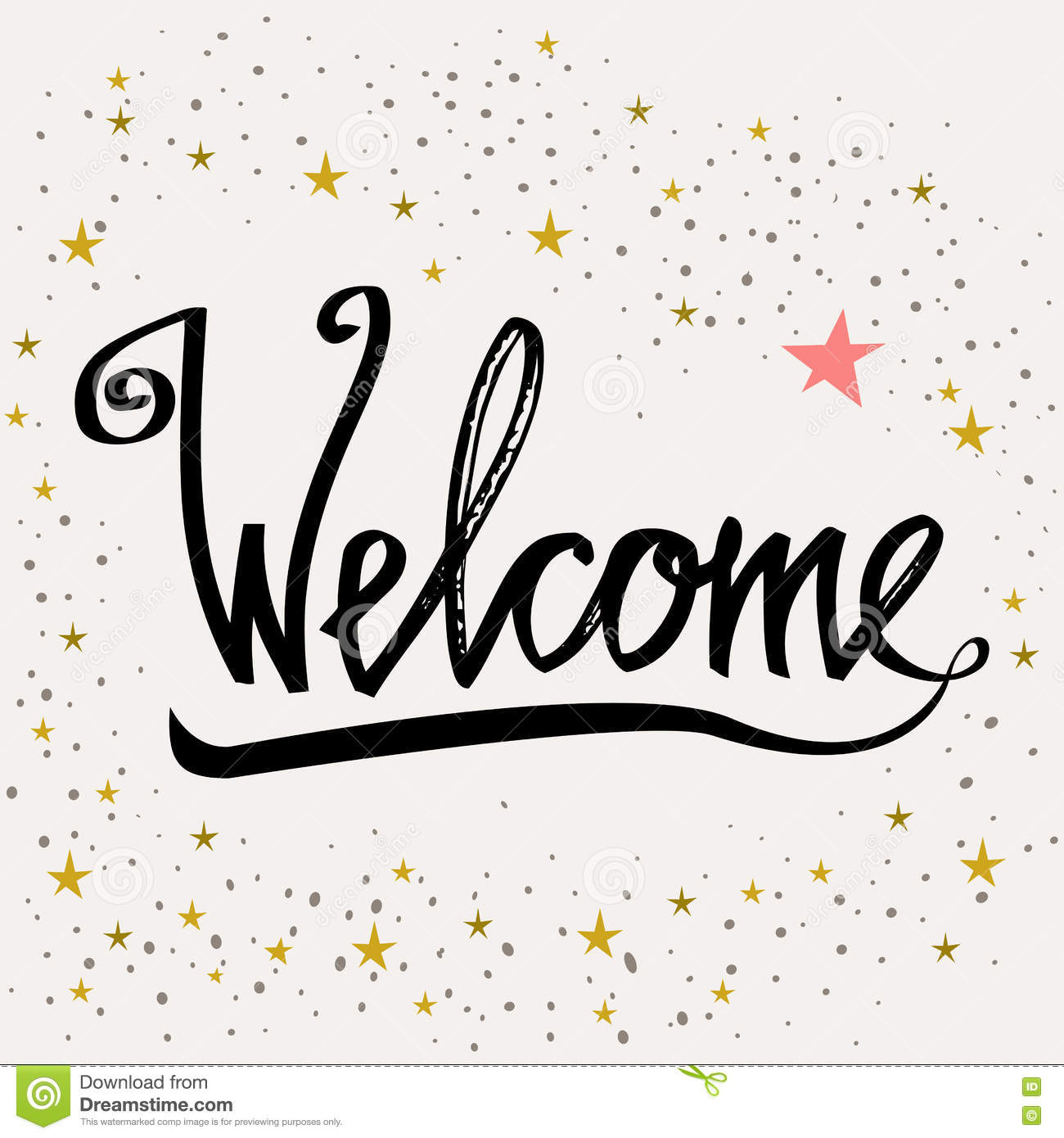 Welcome Hand Lettering Inscription Greeting Card With Calligraphy