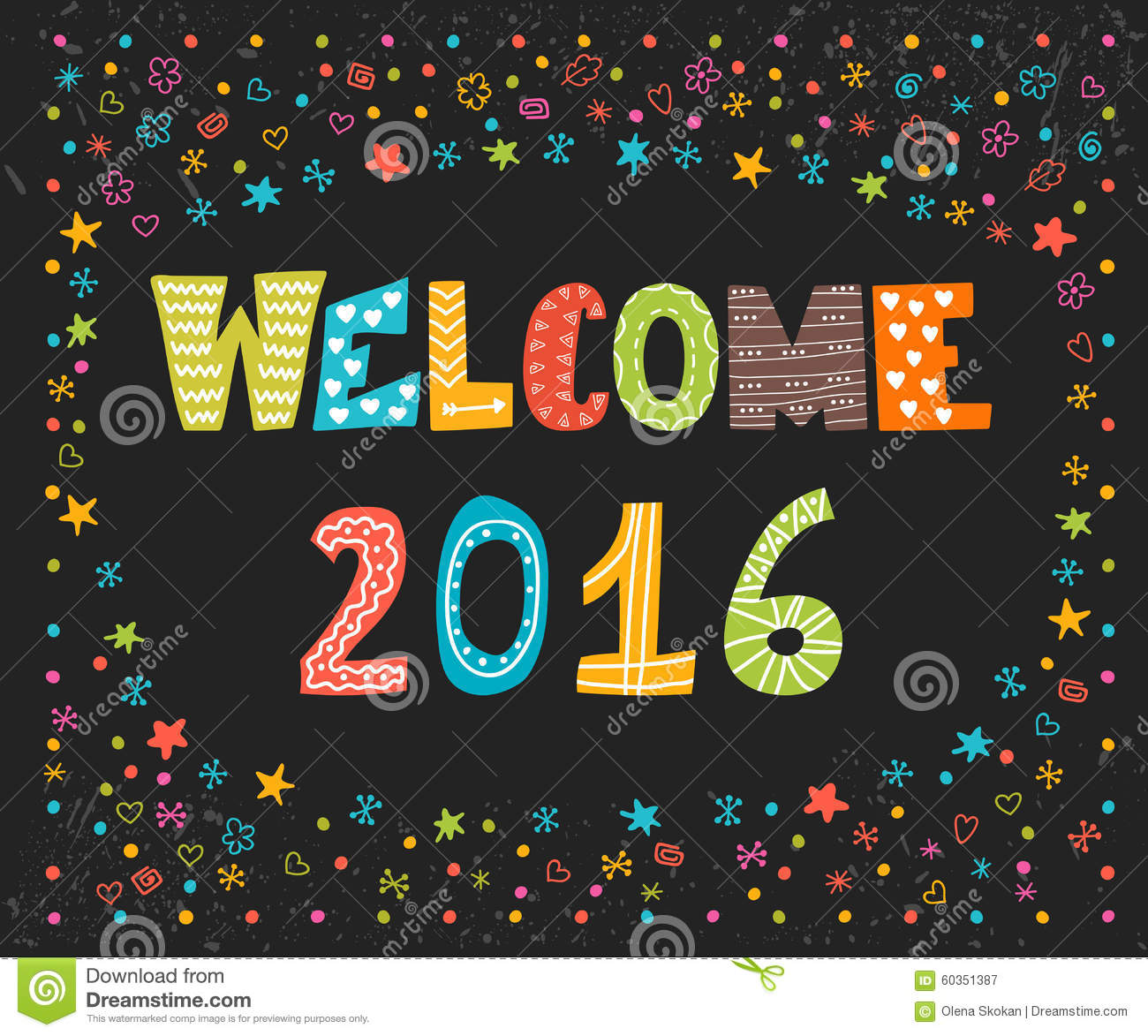 Welcome 2016 Happy New Year Cute Greeting Card Happy Holidays
