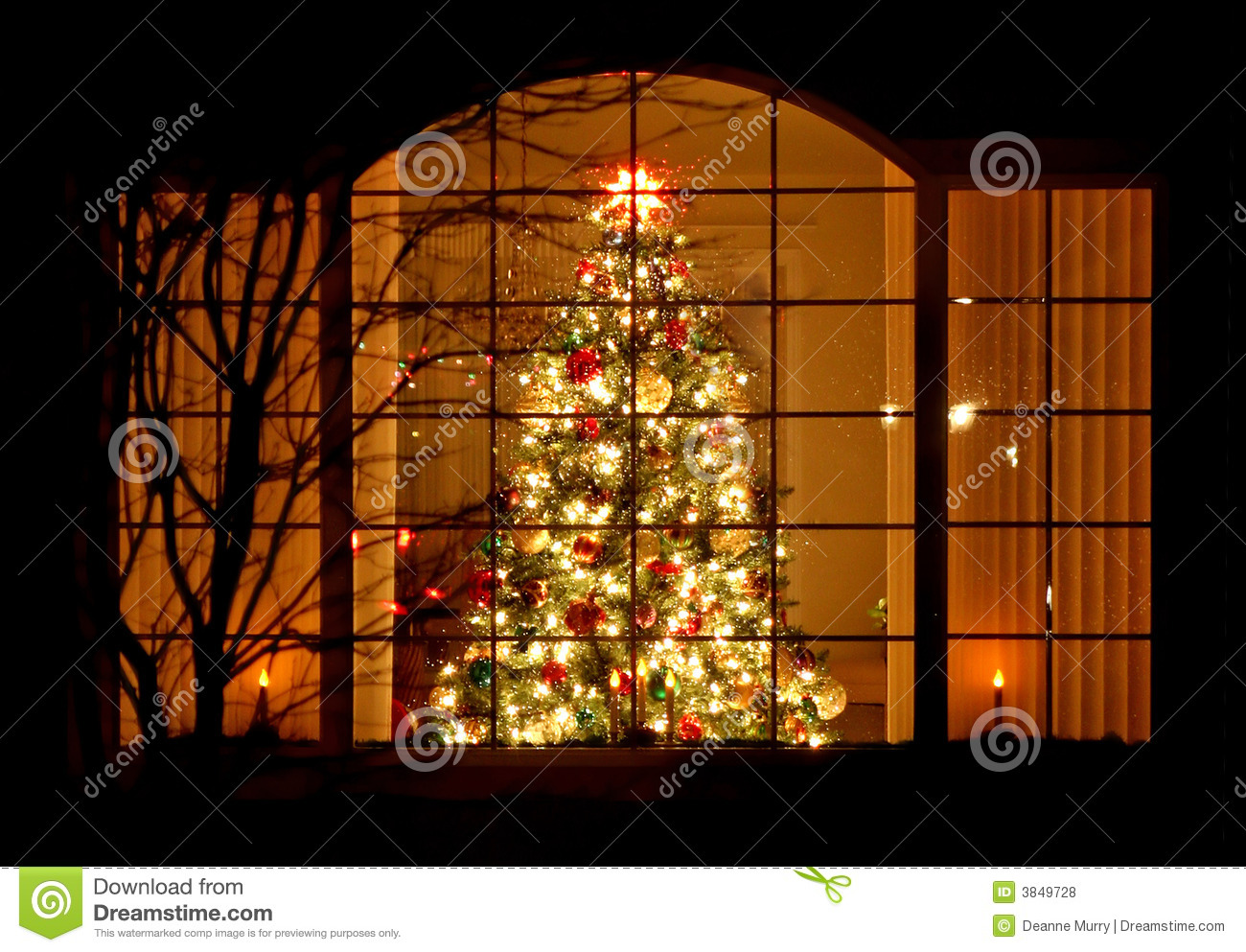 Welcome Home Christmas Tree In Window Royalty Free Stock Photos ...
