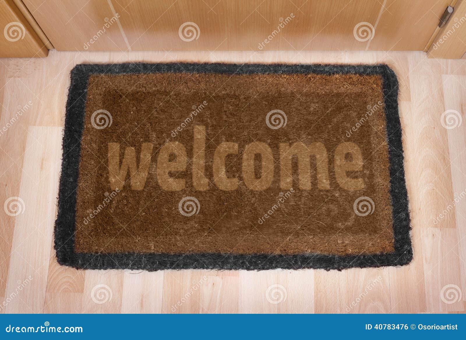 Welcome Home Doormat With Closed Door Stock Photo Image