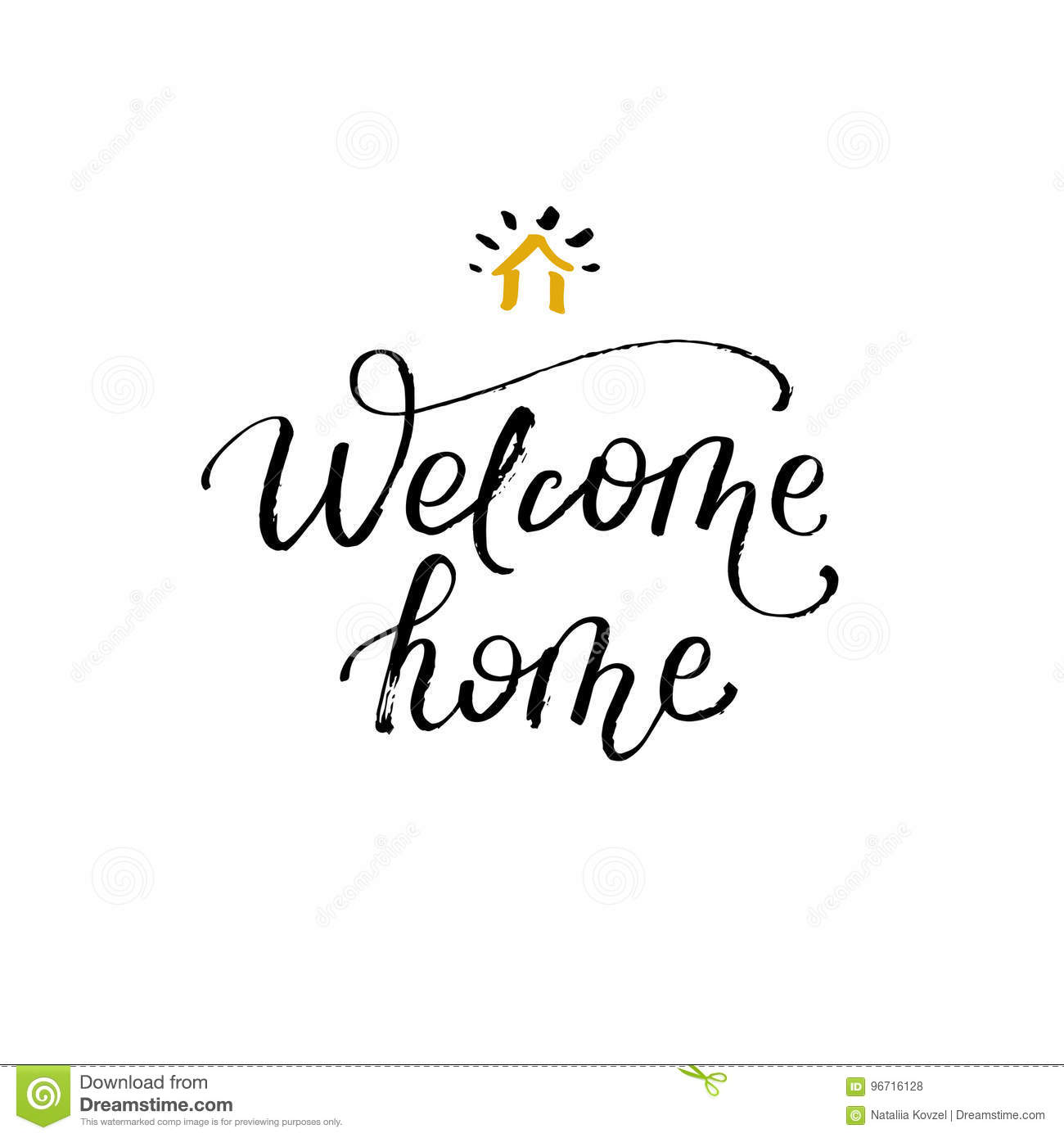 Welcome home greeting card with calligraphy hand drawn design welcome home greeting card with calligraphy hand drawn design element m4hsunfo