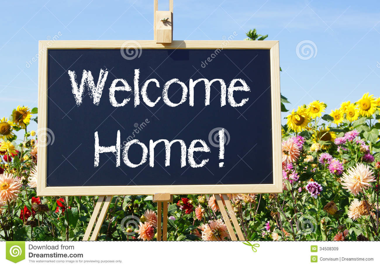 Welcome home sign and flowers royalty free stock images for Ome images
