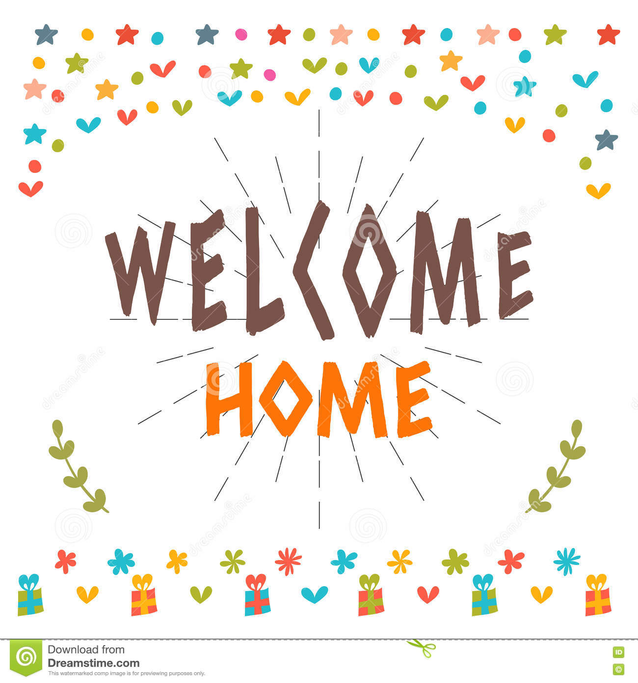 Welcome home text with colorful design elements greeting card download welcome home text with colorful design elements greeting card stock vector illustration m4hsunfo