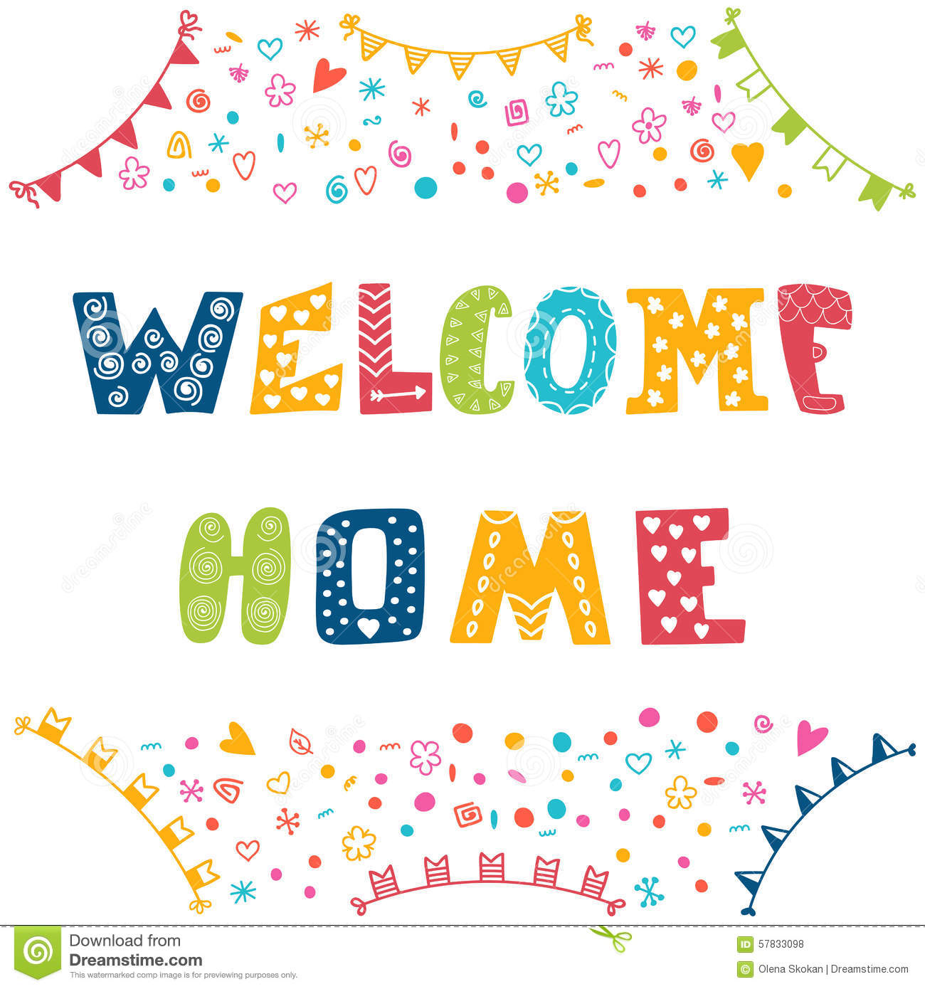 Welcome Home Text With Colorful Design Elements Stock ...