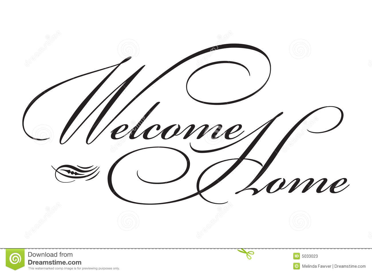 Welcome Home sign in elegant black script type with ornament.