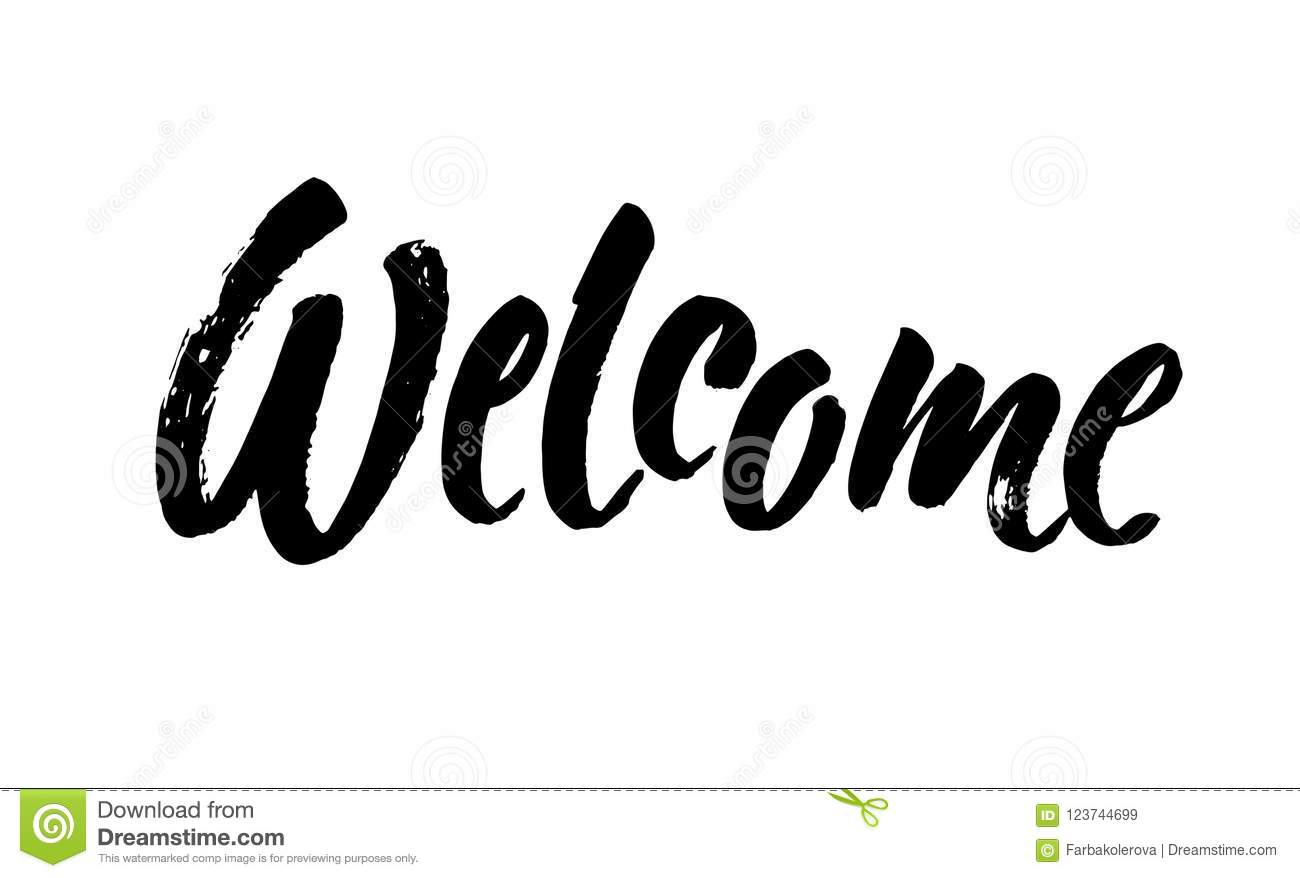 welcome lettering handwritten modern calligraphy brush painted