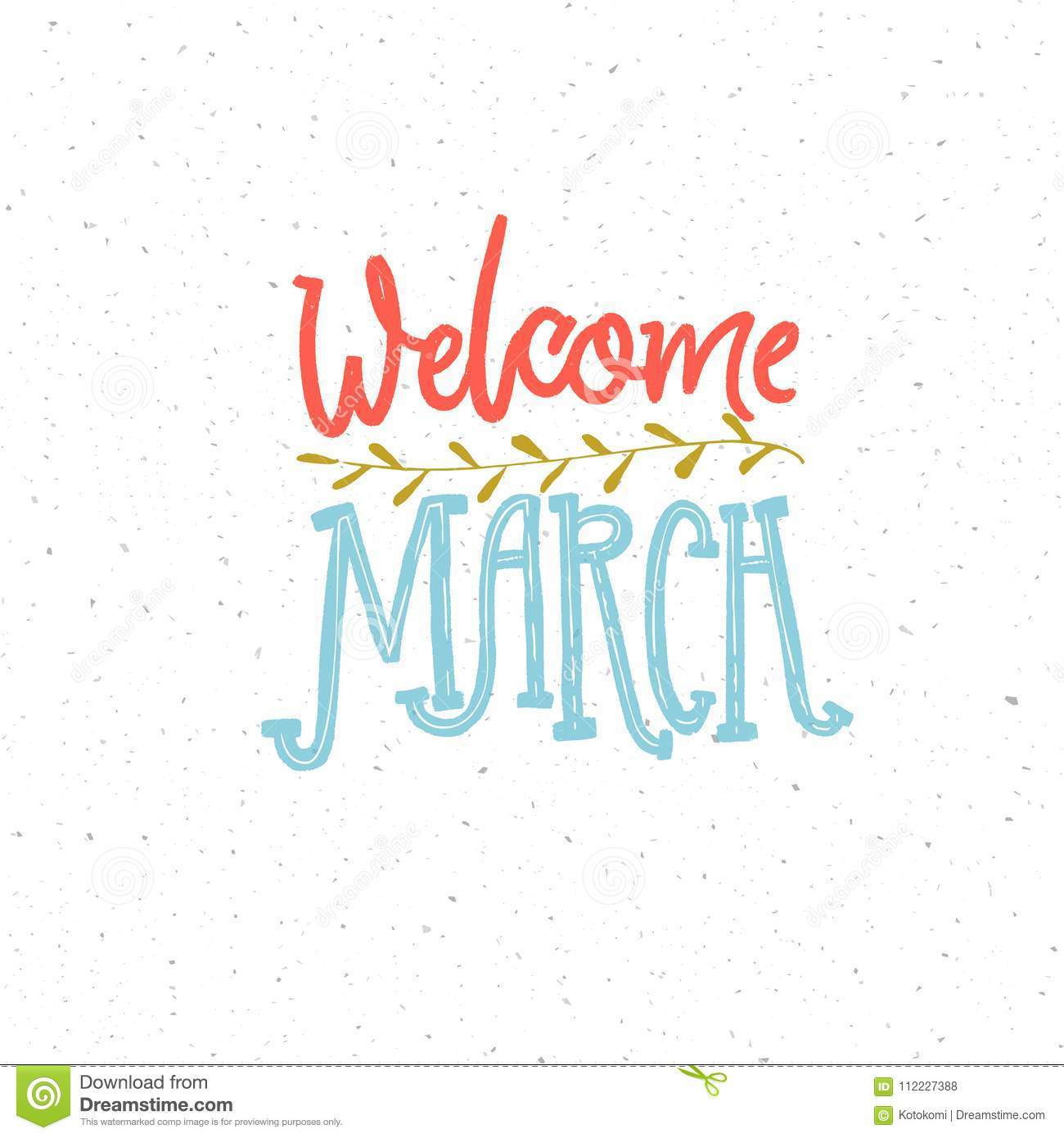 Welcome March Caption Pink And Blue Lettering Composition