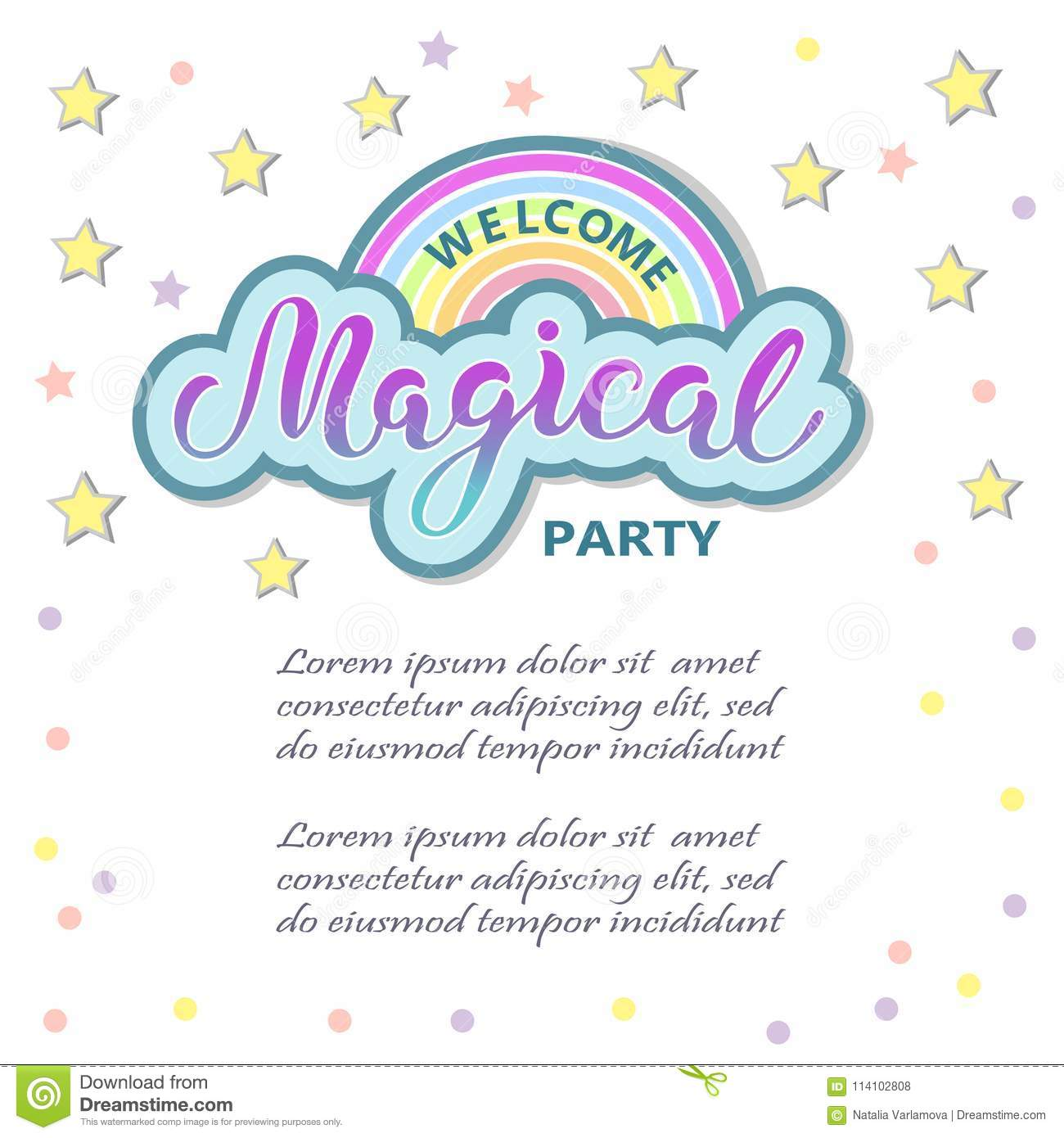 Welcome Margical Party Template For Party Invitation Stock ...