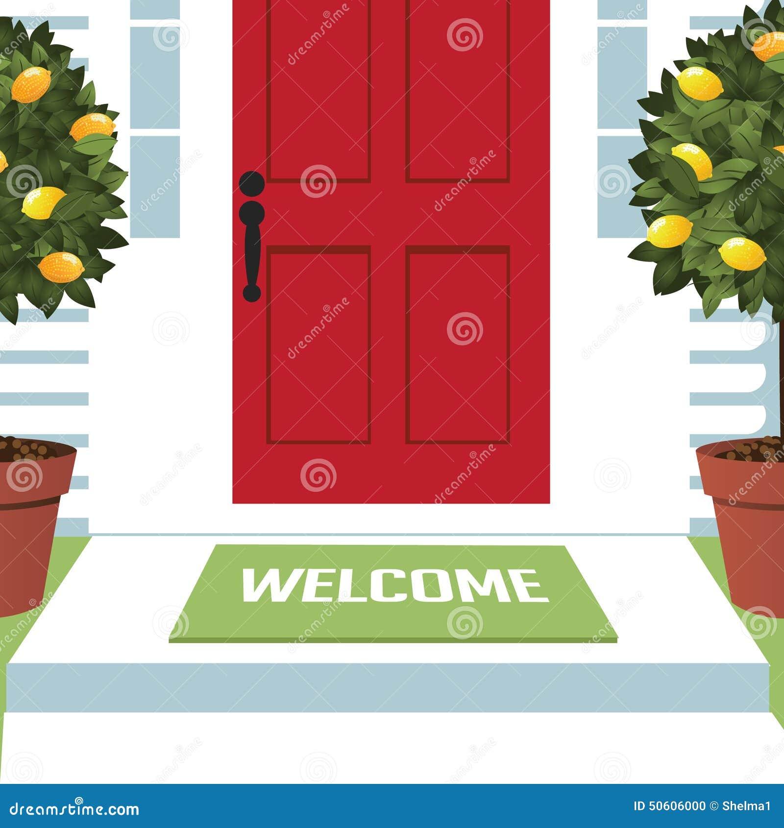 Welcome Mat At Front Door Stock Vector Image 50606000