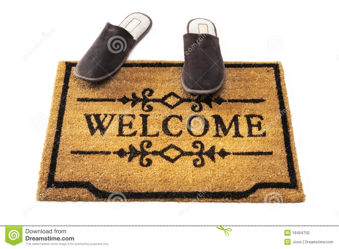Welcome Mat And Slippers Stock Photo Image 18404750