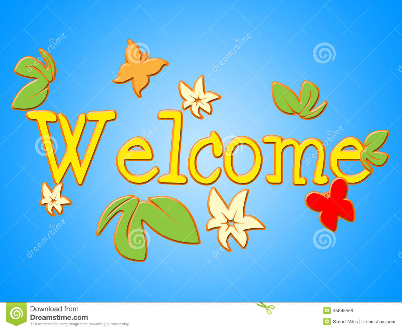 Welcome Message Shows Contact Arrival And Invitation Stock
