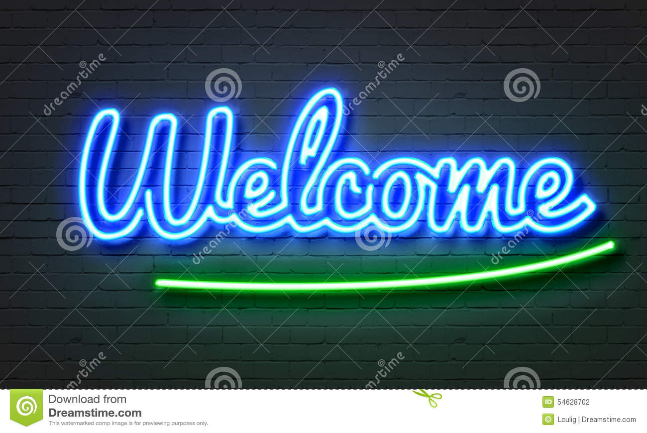 welcome neon sign stock illustration