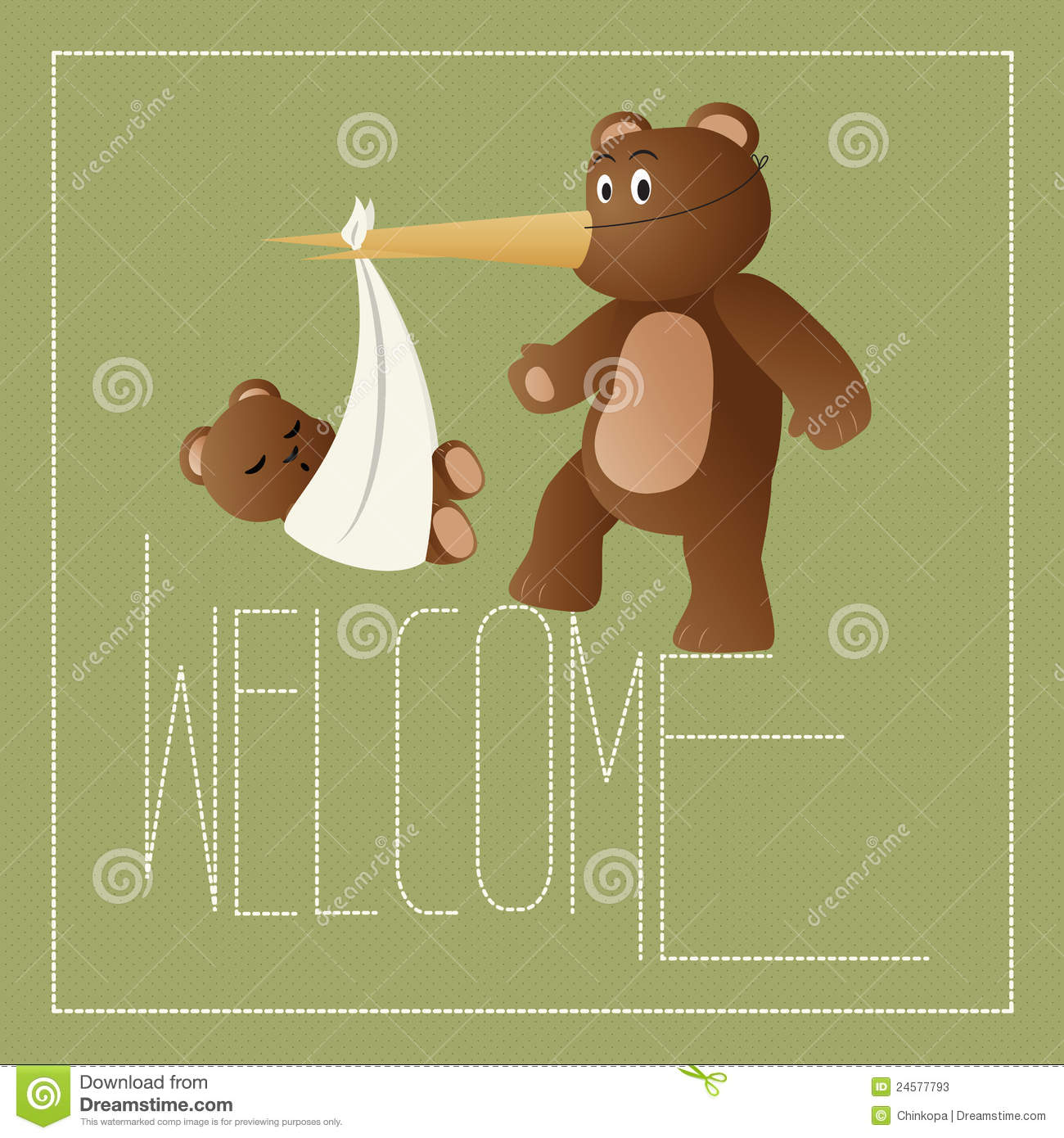 Welcome New Baby Stock Vector Illustration Of Dots Bear 24577793
