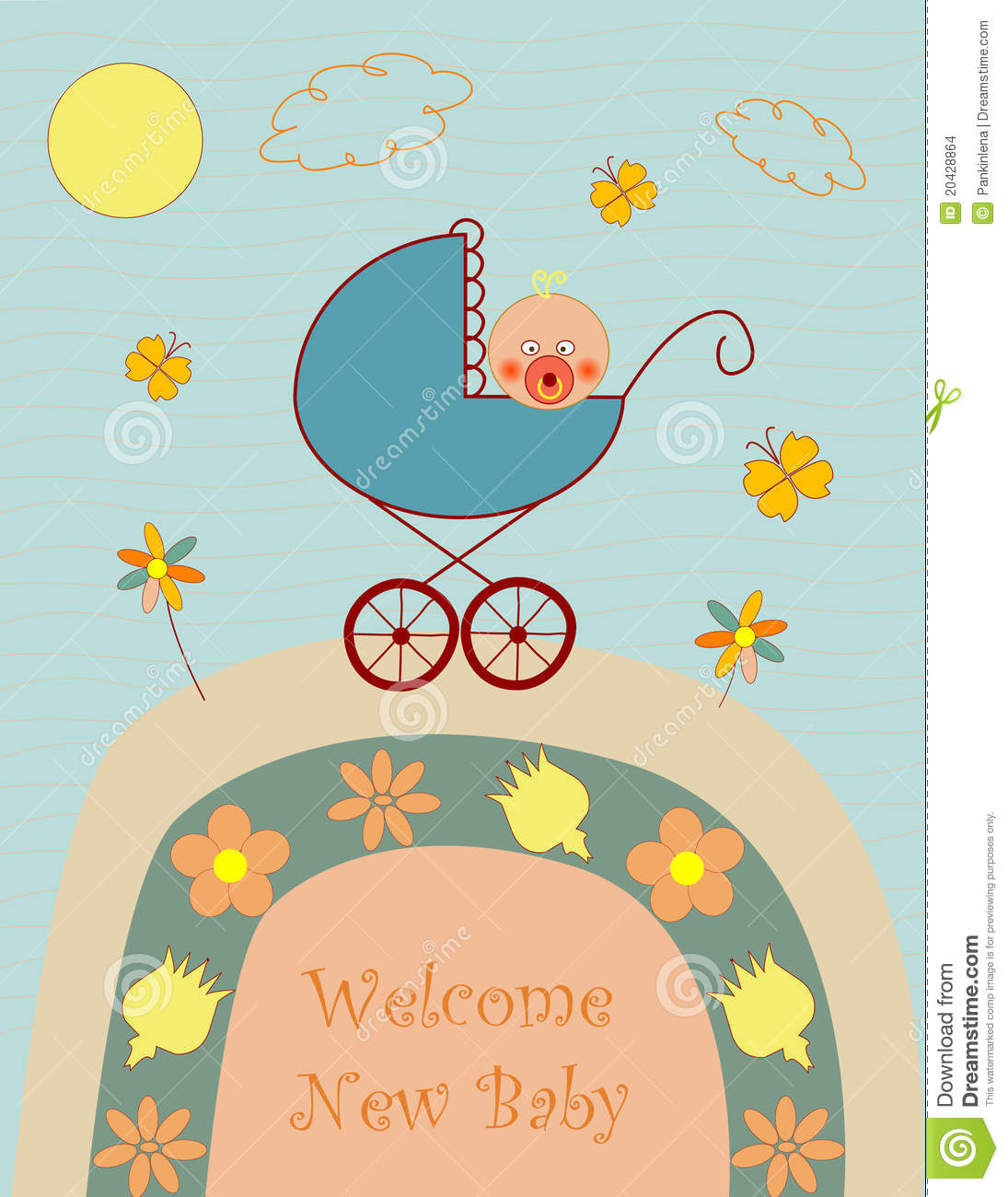 Welcome New Baby Boy Stock Vector Illustration Of Nice