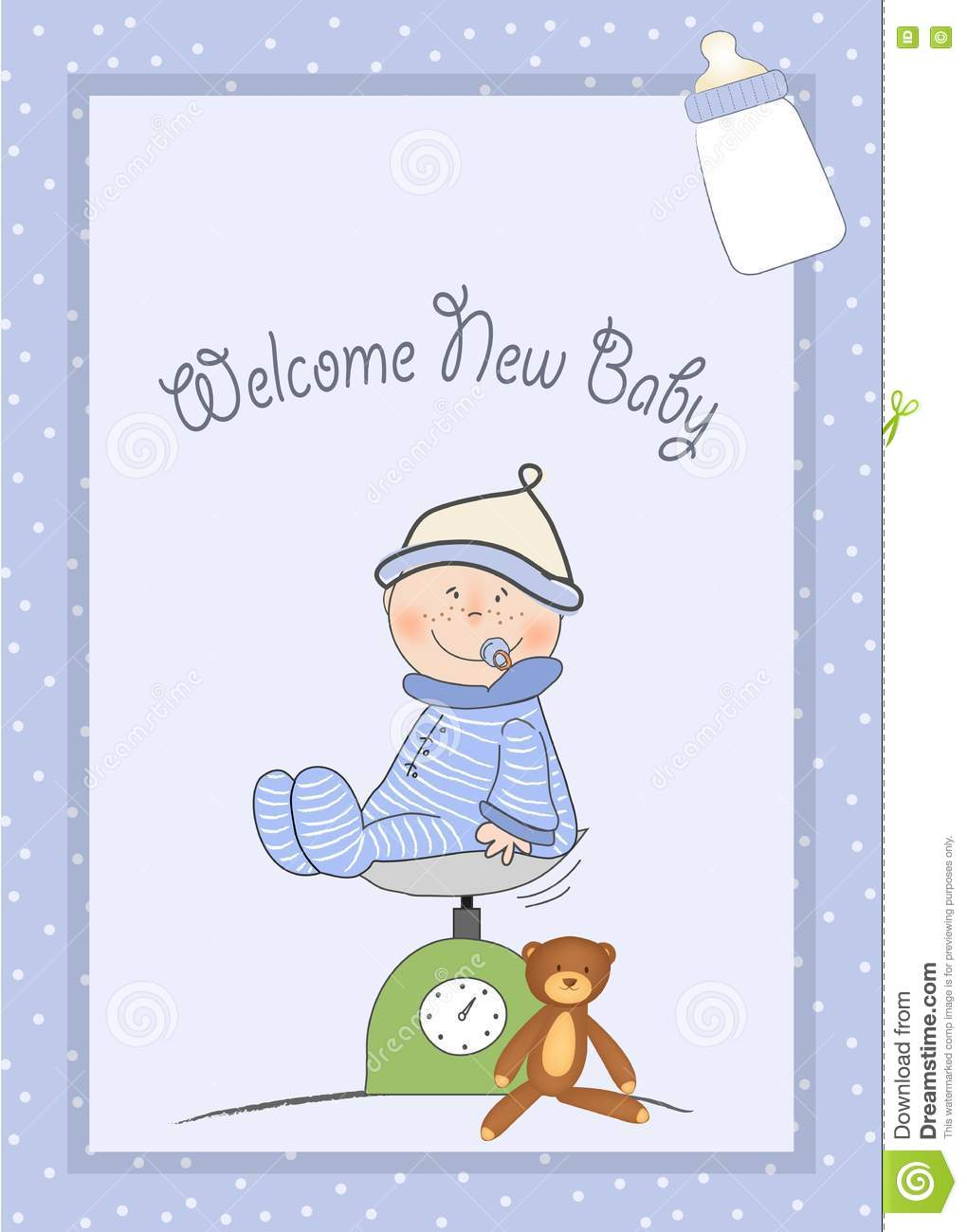 Welcome New Baby Boy Stock Illustration Illustration Of