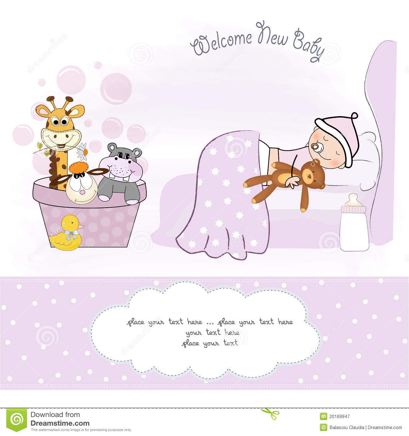 Welcome New Baby Girl Royalty Free Stock Photography - Image: 20169947