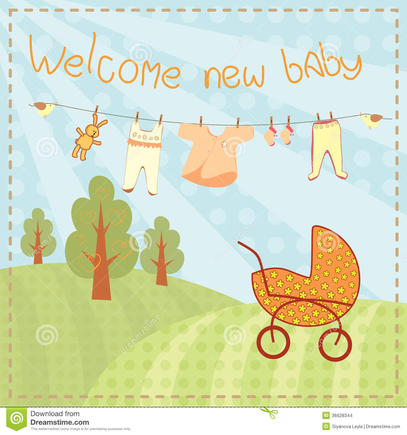 Welcome new baby greeting card stock vector illustration of girl welcome new baby greeting card m4hsunfo