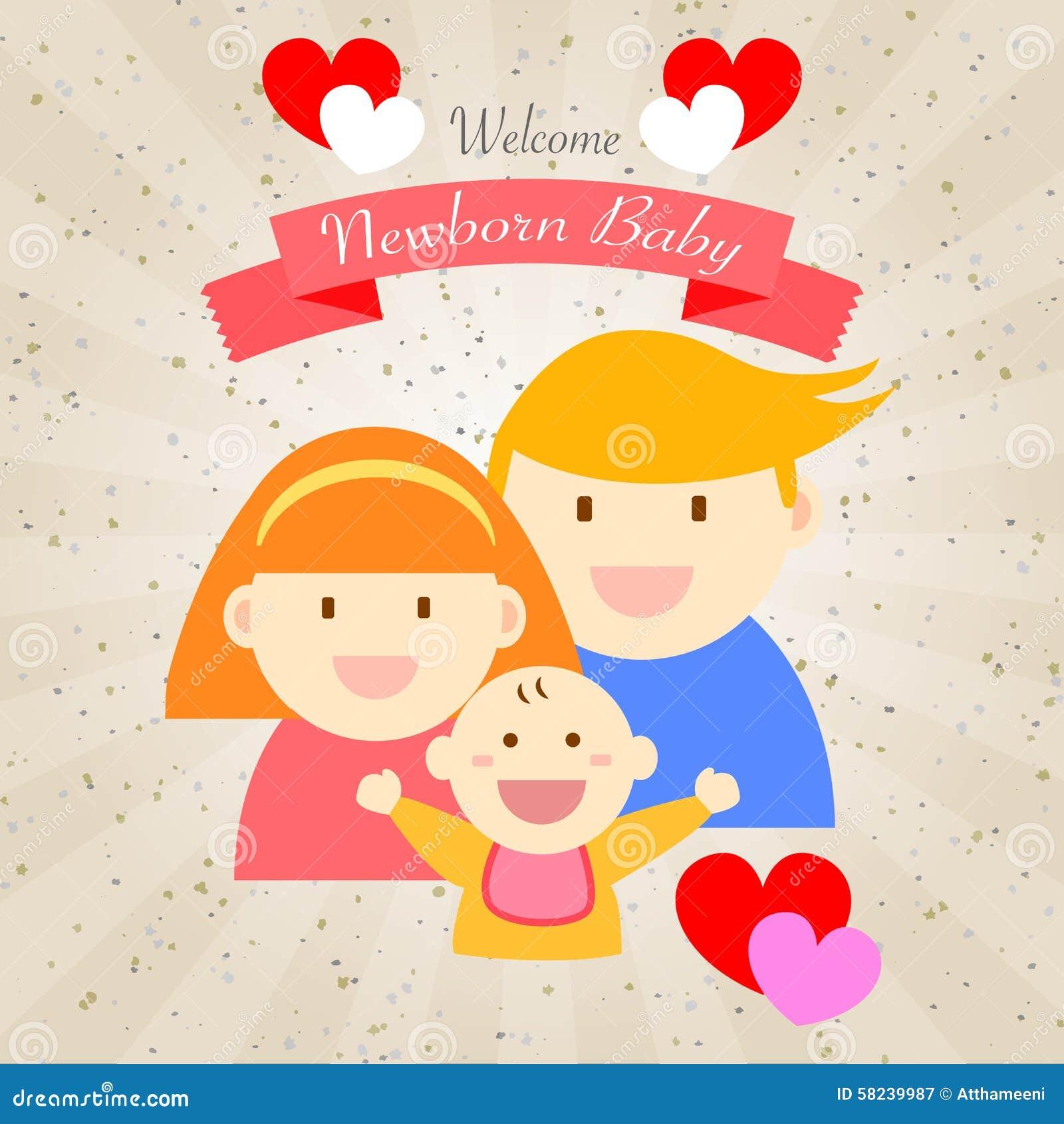 welcome newborn baby happy family stock illustration