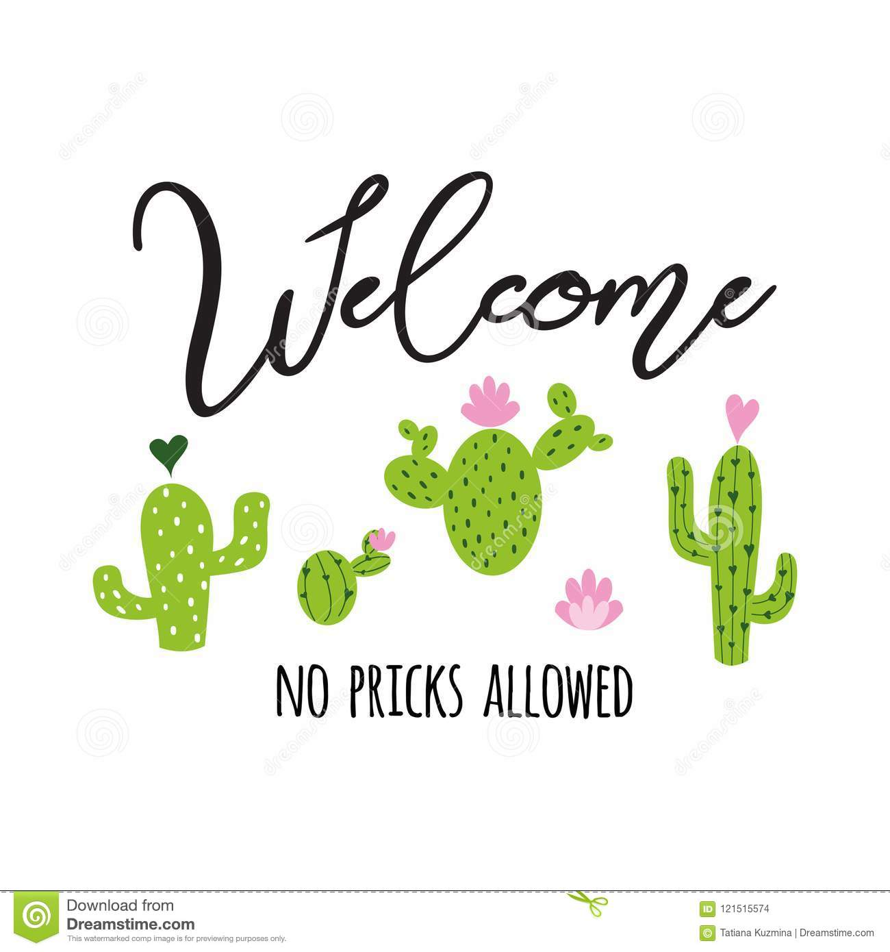 Welcome No Allowed Vector LabelCute Hand Drawn Prickly ...
