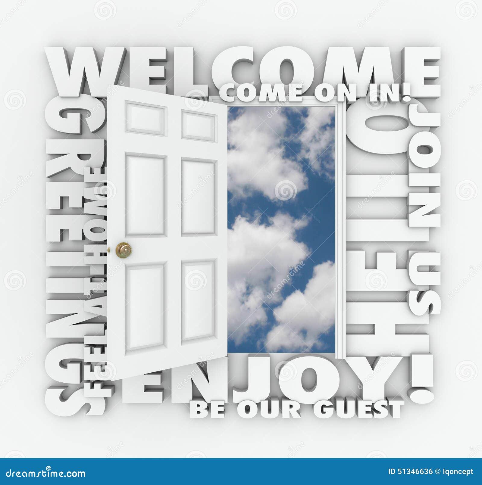 Welcome open door hello friendly service guest invitation words welcome open door hello friendly service guest invitation words stopboris Image collections