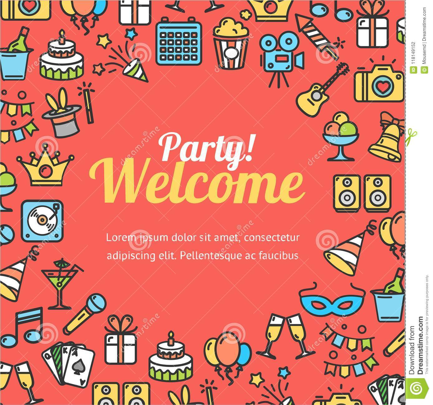 Welcome Party Invitation Card. Vector Stock Vector - Illustration of ...