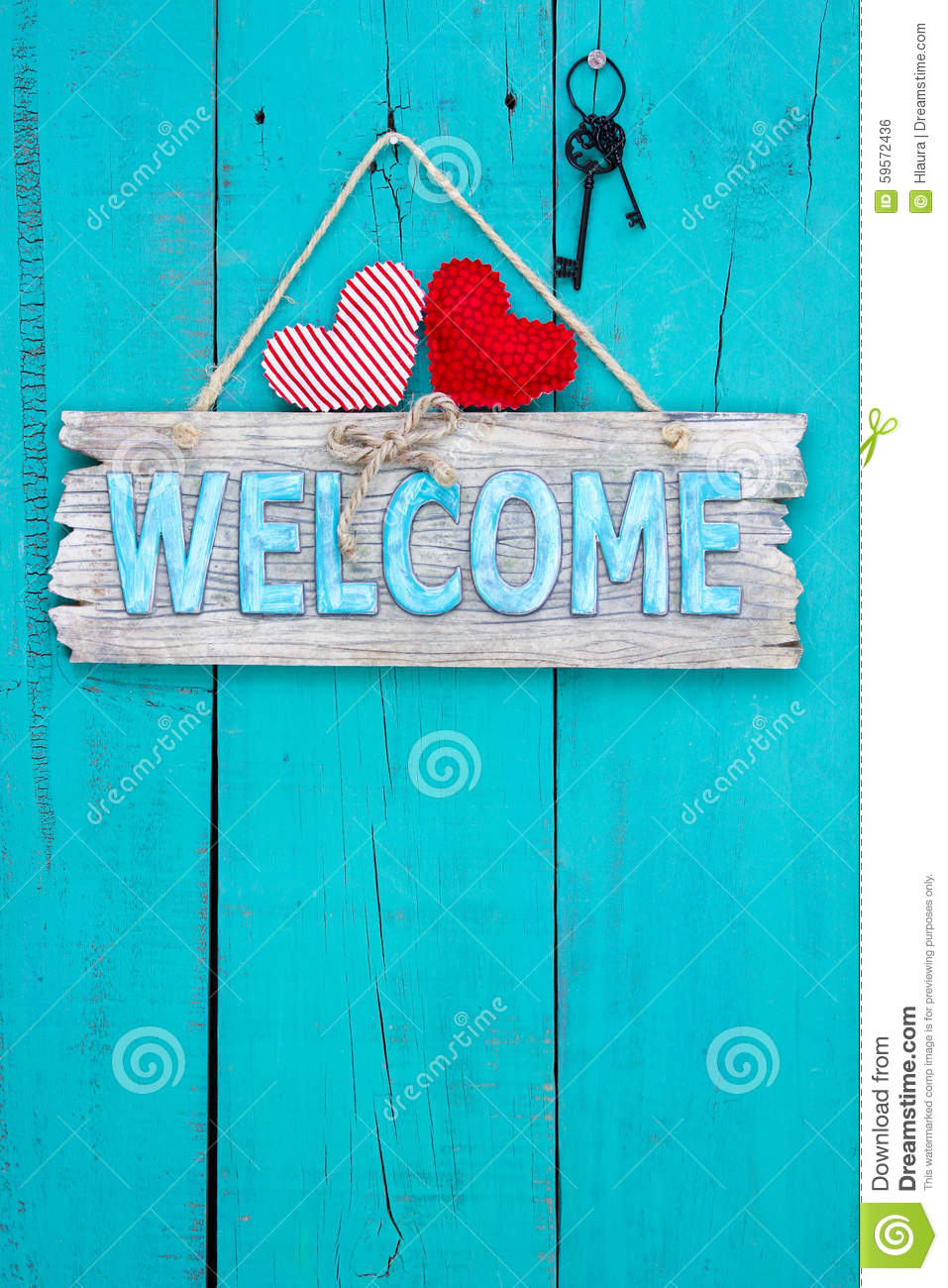 Welcome Sign Hanging On Aged Wood Door Stock Photo Image