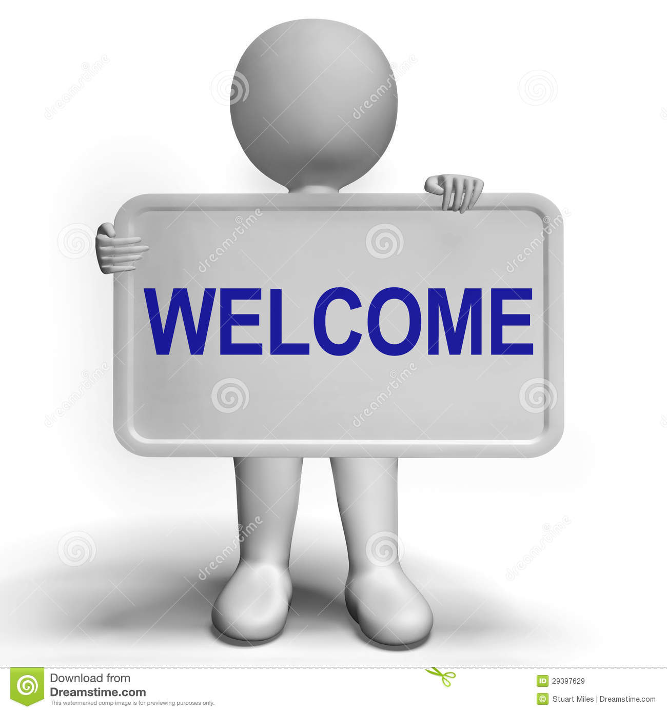 Welcome Sign Showing Hello Greeting Or Hospitality Stock