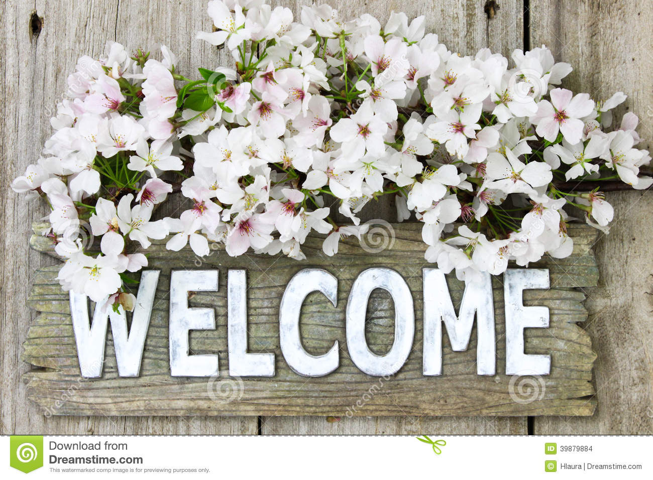Welcome Sign With Spring Bouquet Of White Flowers Stock Photo - Image ...