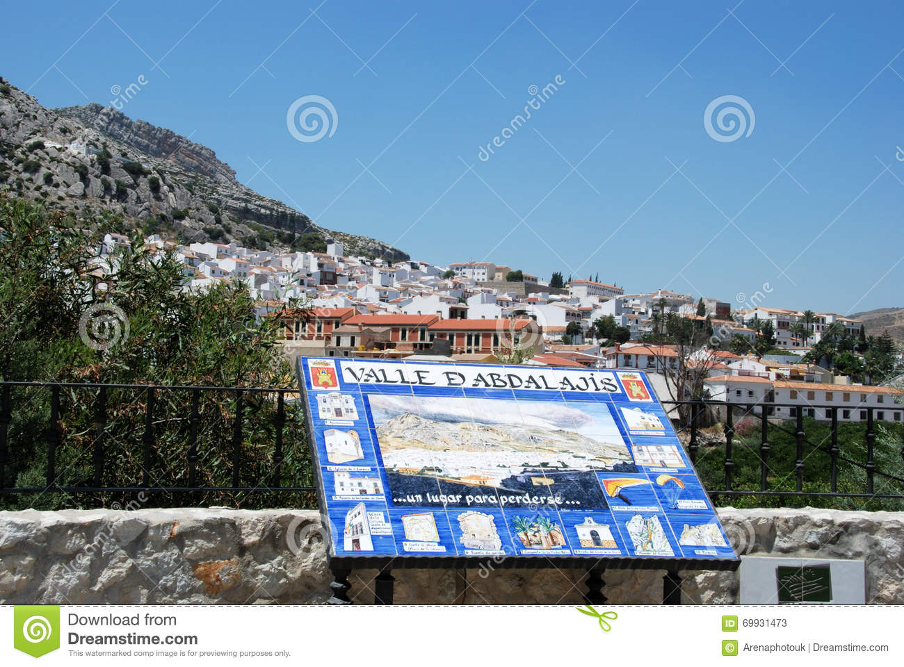 Welcome Sign And White Town Valle De Abdalajis