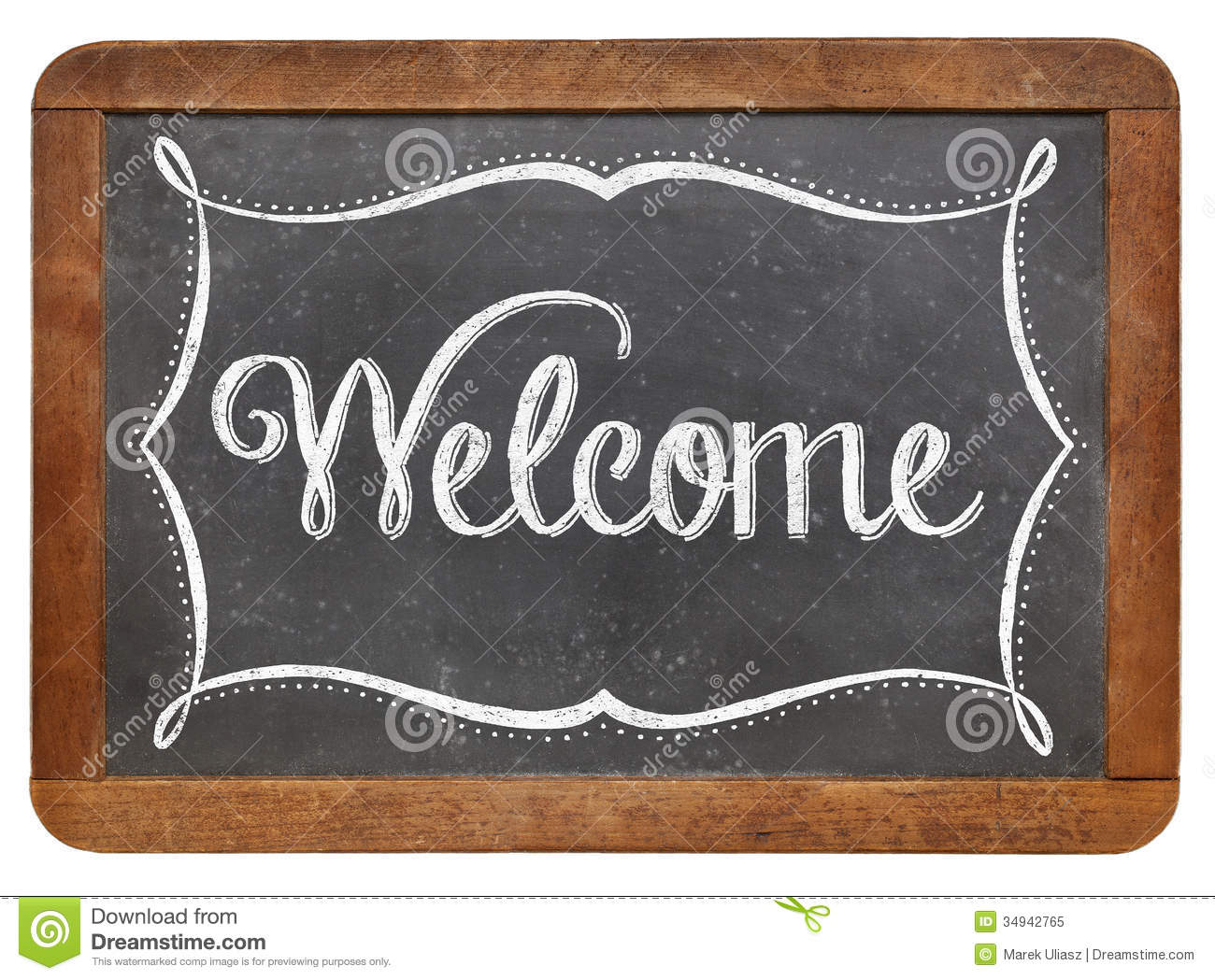 welcome on slate blackboard stock image image of vintage welcome