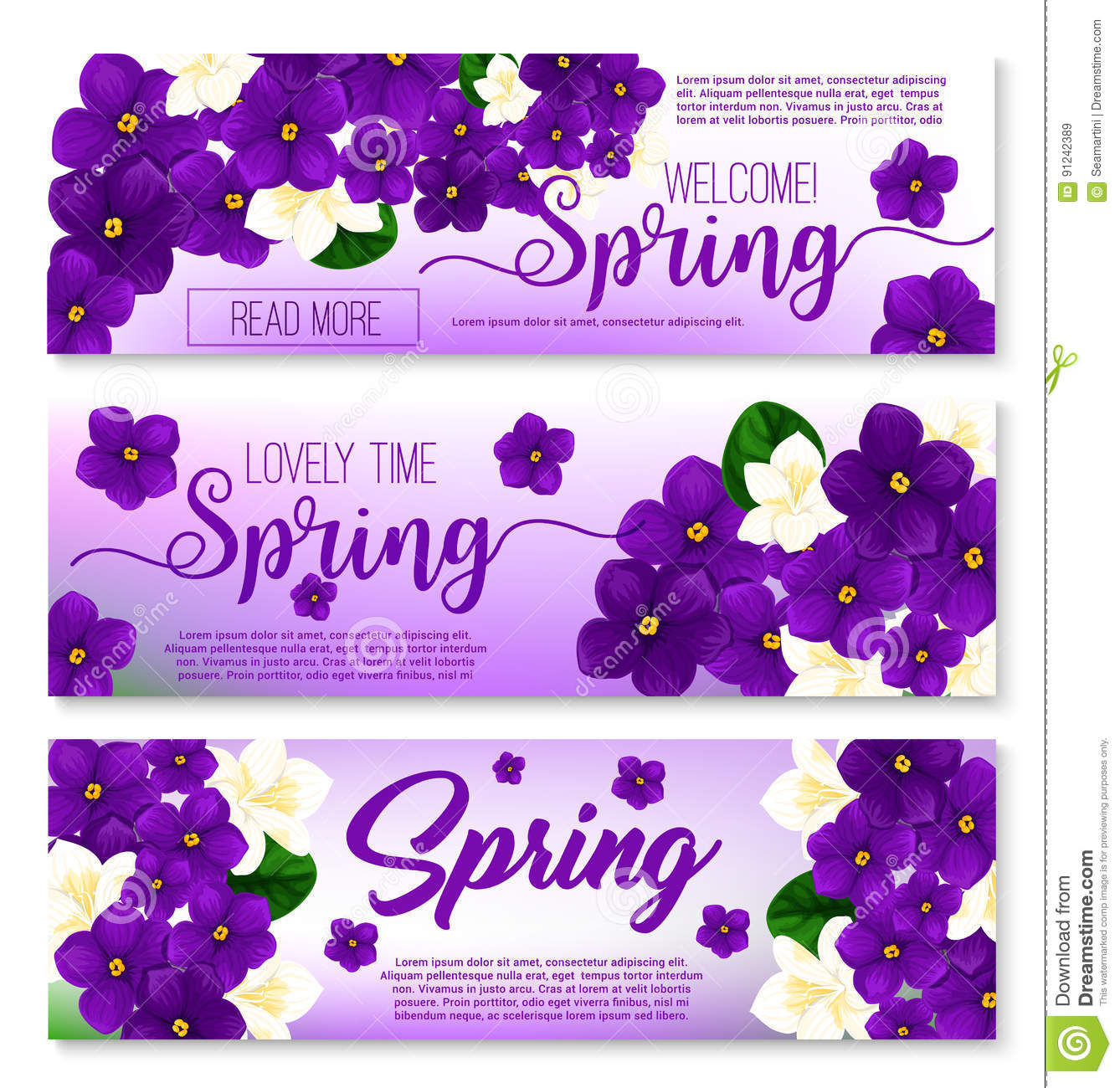 Welcome Spring Floral Banner With Flower Bouquet Stock Vector