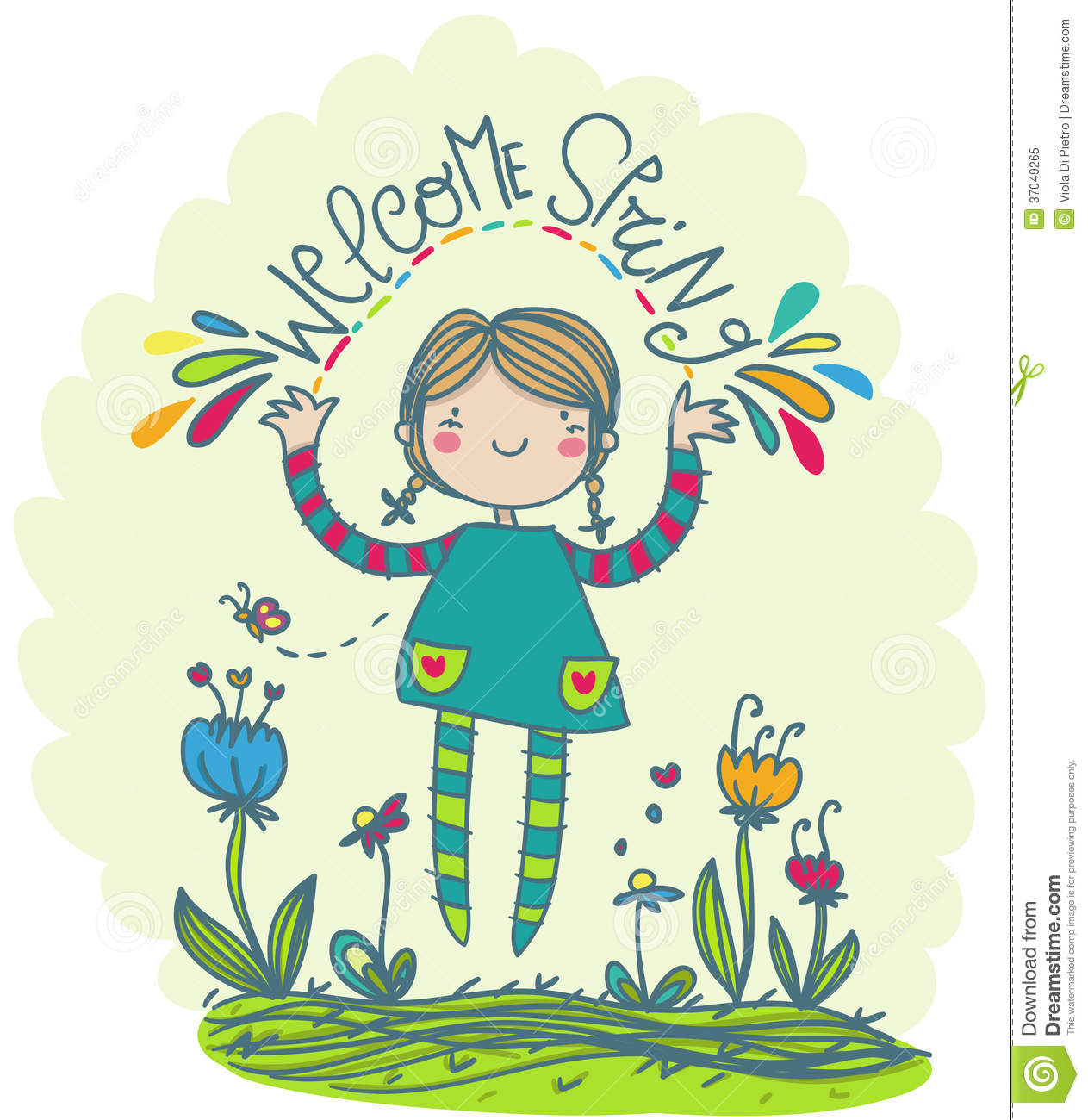welcome spring funny illustration royalty free stock photo image