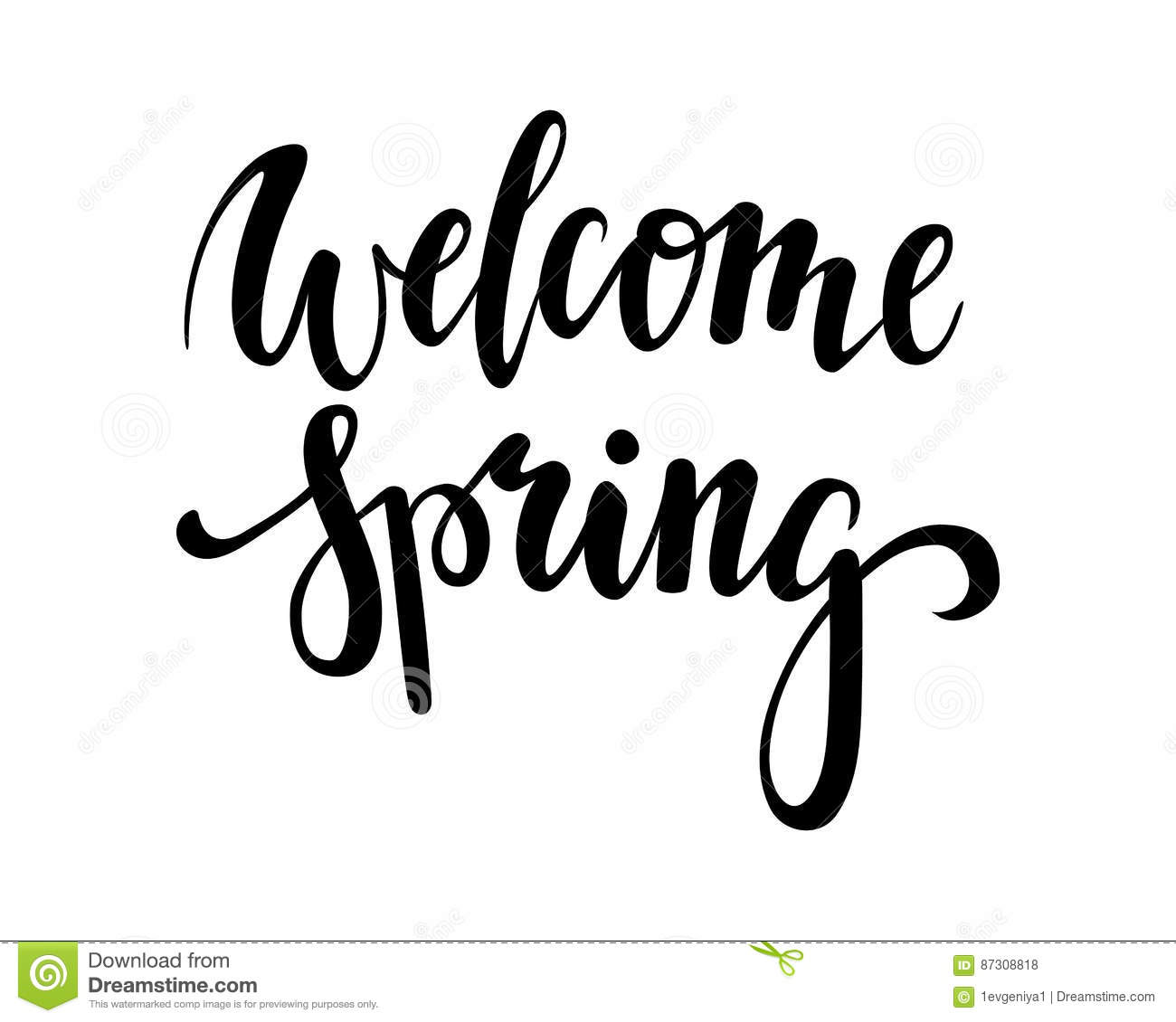 Welcome Spring Hand Drawn Calligraphy And Brush Pen