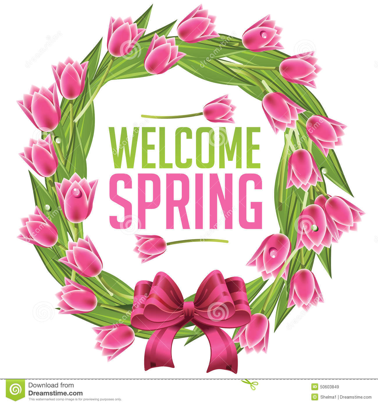 Welcome spring wreath with tulips lemon trees EPS 10 vector royalty ...