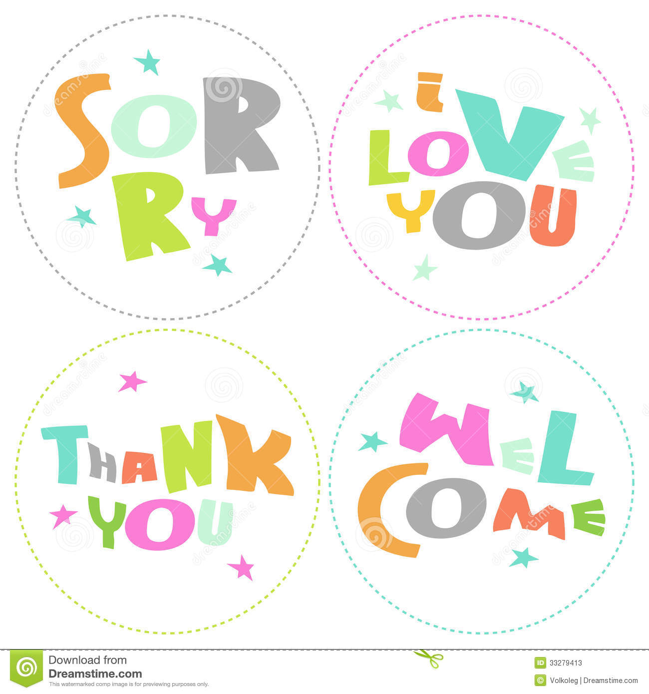 Welcome, Thank You, Sorry, Love You - Grateful Cir Stock