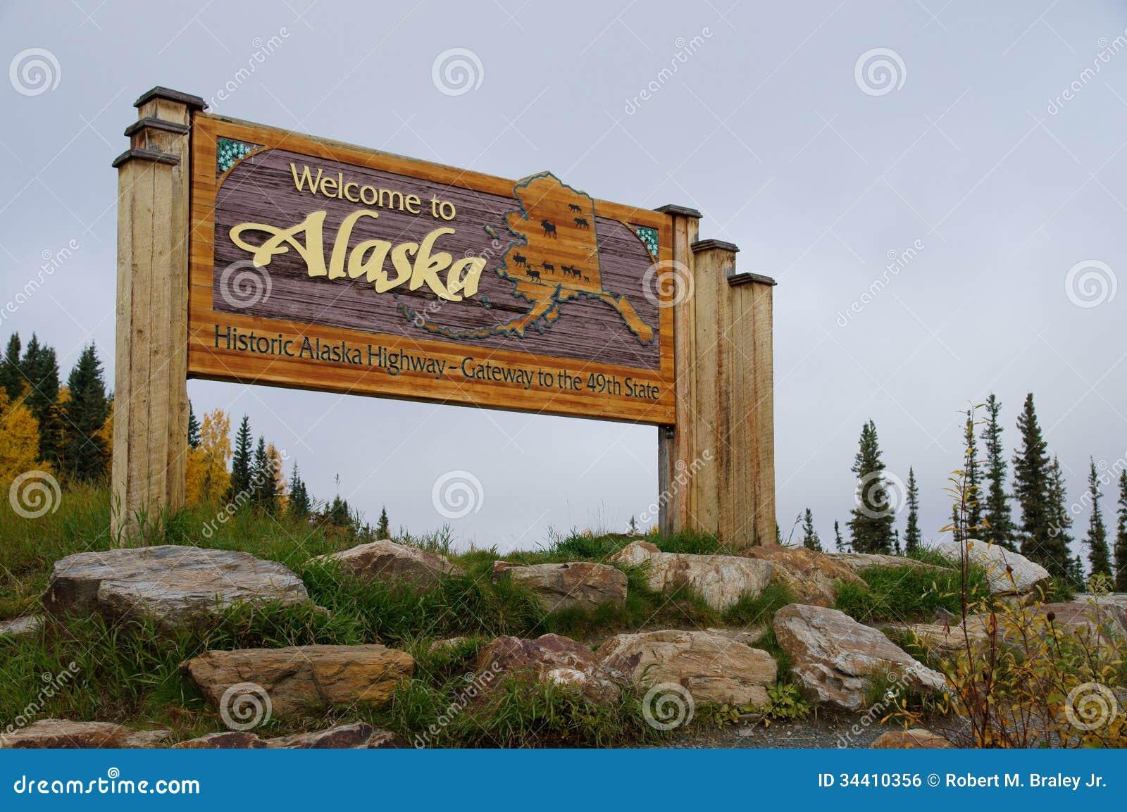Download Welcome to Alaska stock photo. Image of alaska, gateway - 34410356