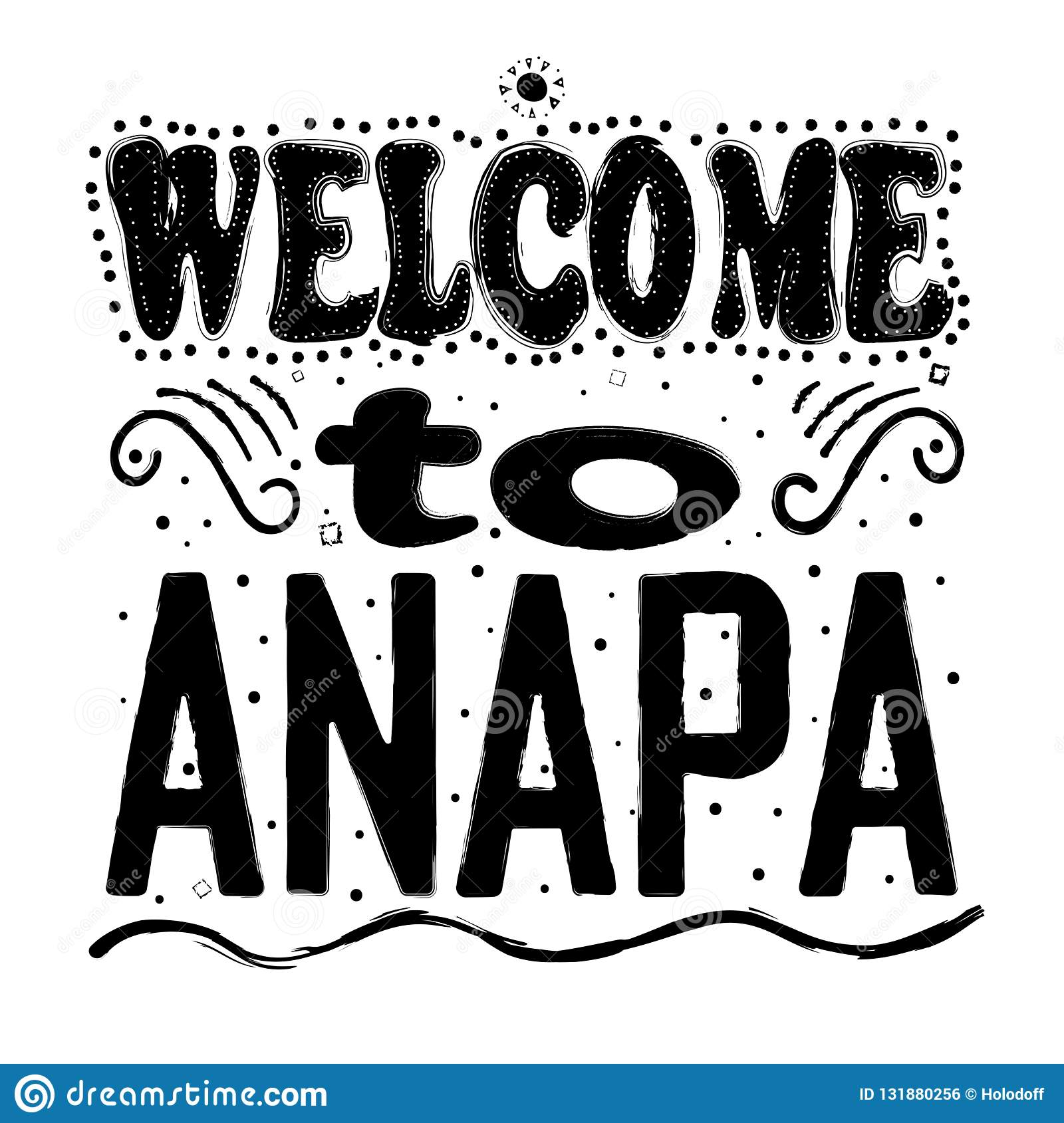 Welcome To Anapa Russia - Large Hand Lettering  Stock Illustration