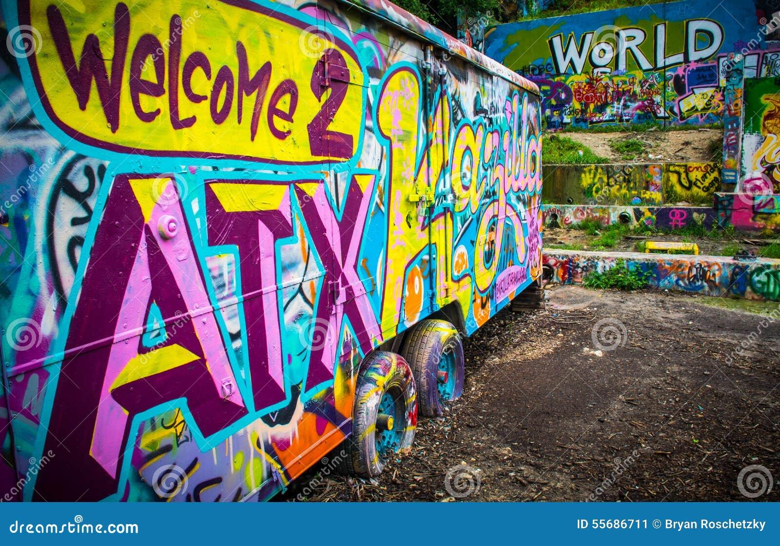 Graffiti wall usa - Welcome To Austin Texas Usa World Music Capital Stock Image